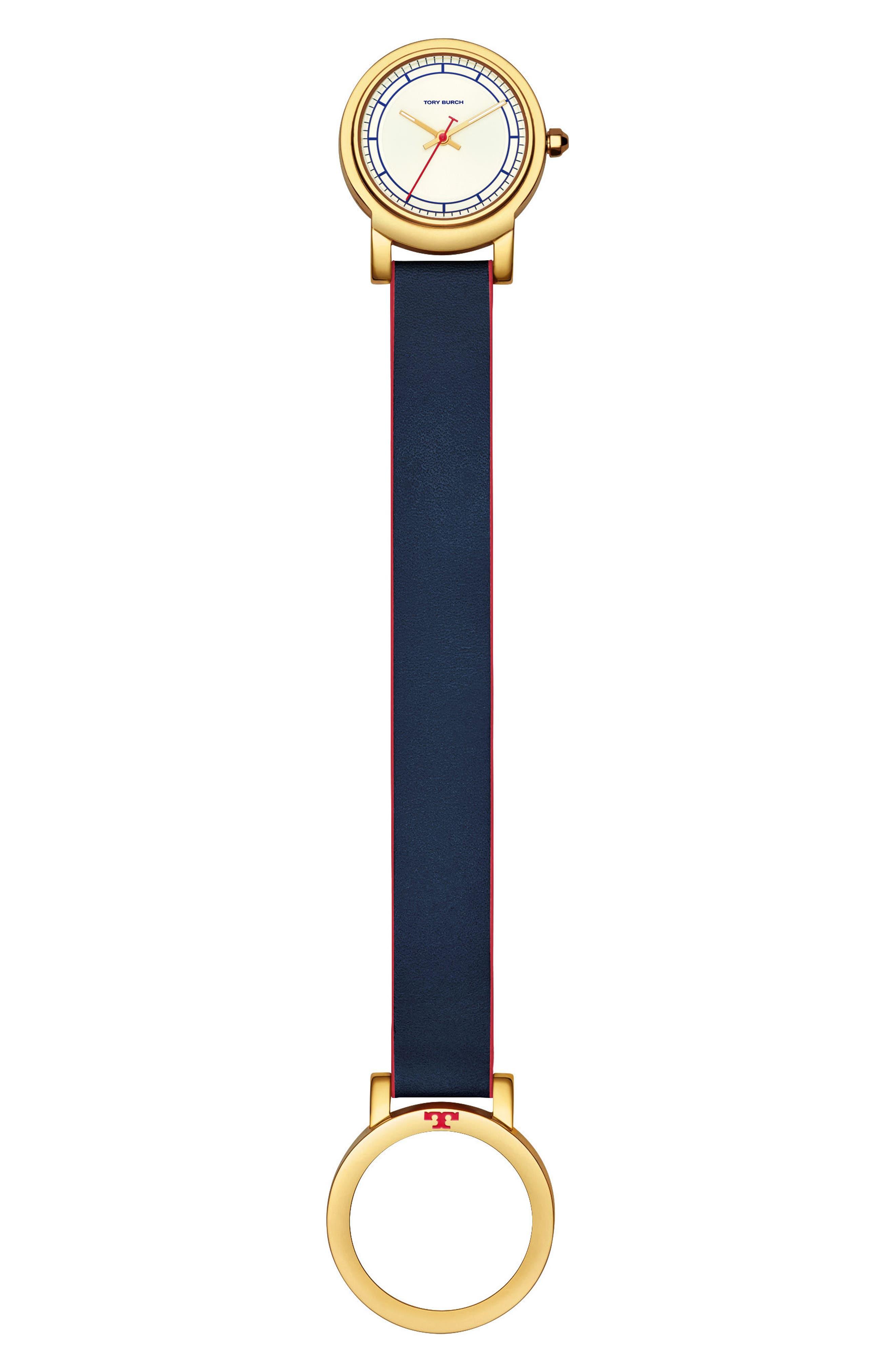 Ellsworth Leather Strap Watch, 36mm,                             Alternate thumbnail 3, color,                             BLUE/ CREAM/ GOLD