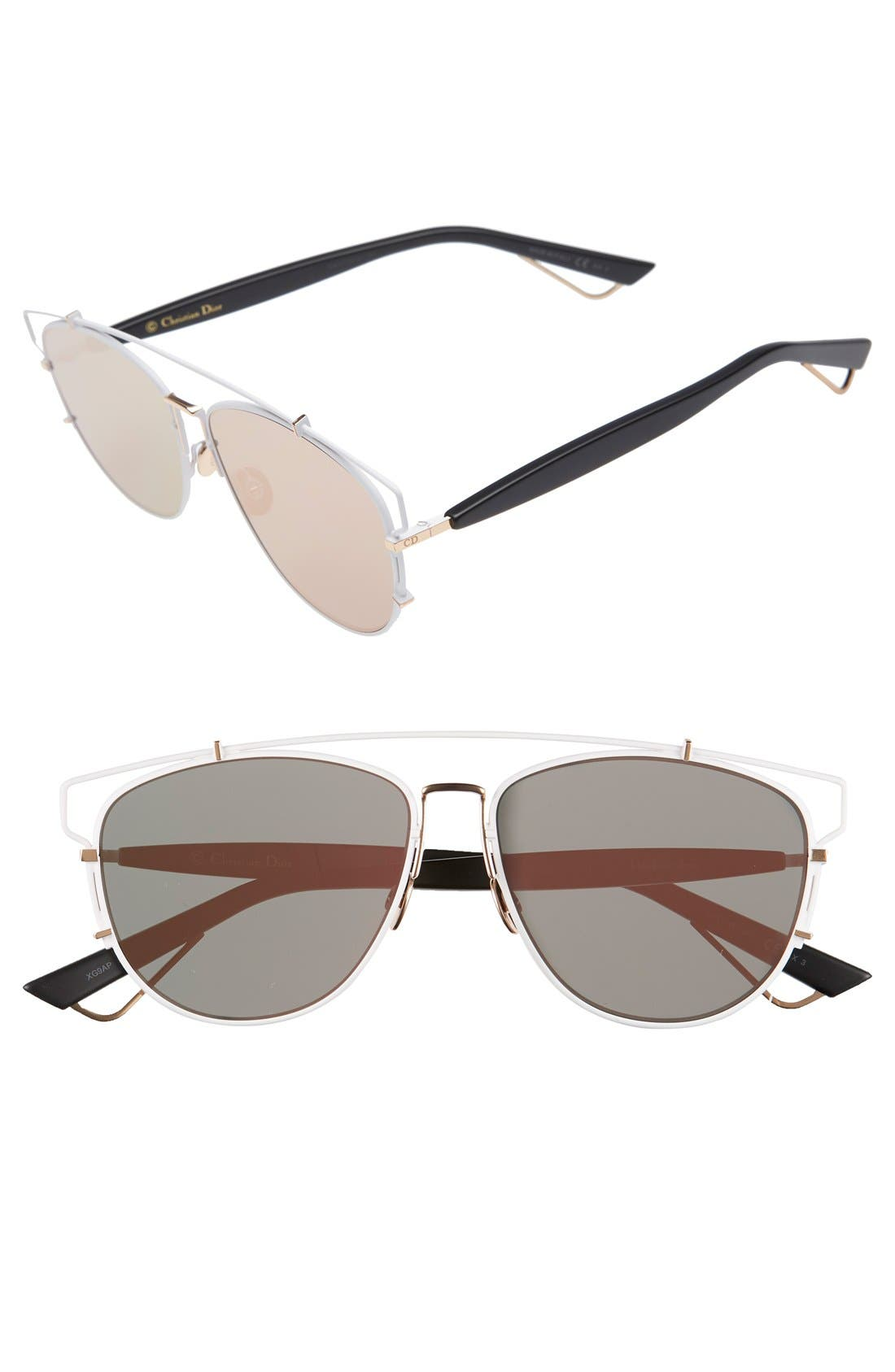 Technologic 57mm Brow Bar Sunglasses,                             Main thumbnail 7, color,