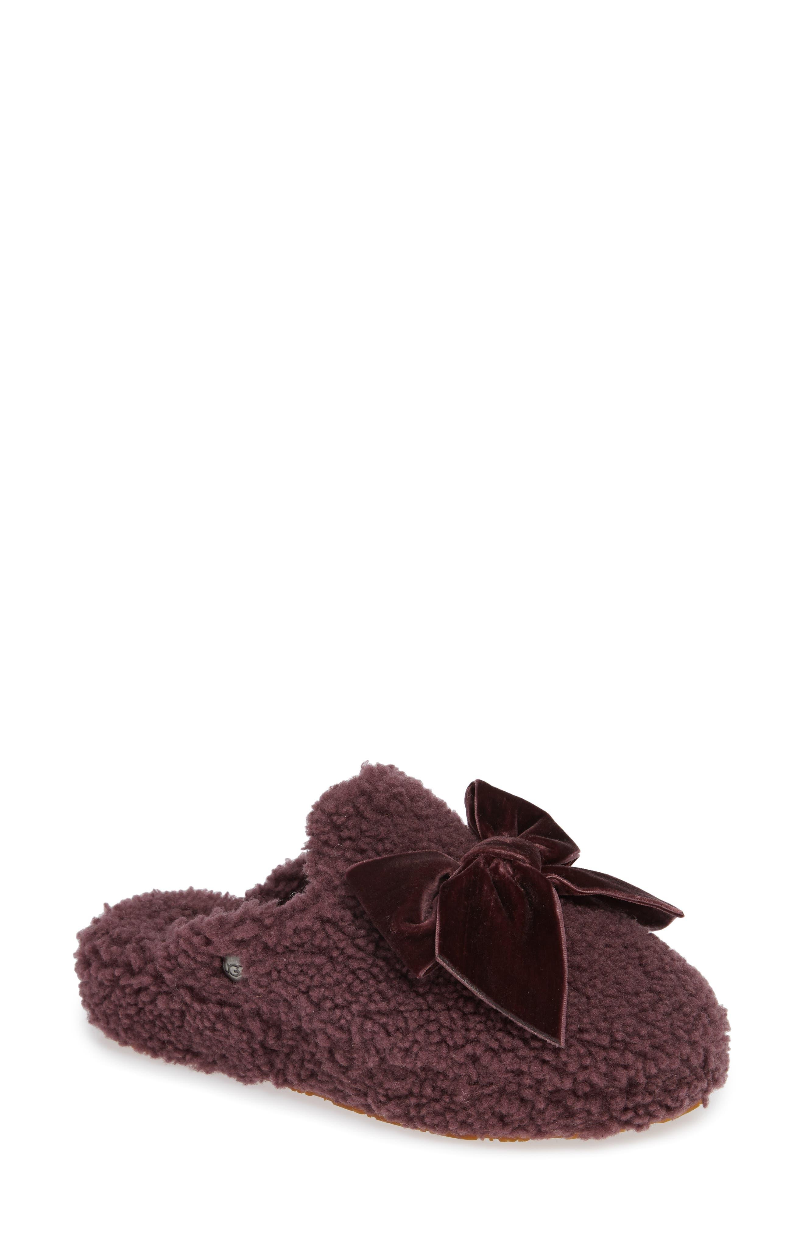 Addison Velvet-Bow Curly Sheepskin Slippers in Port