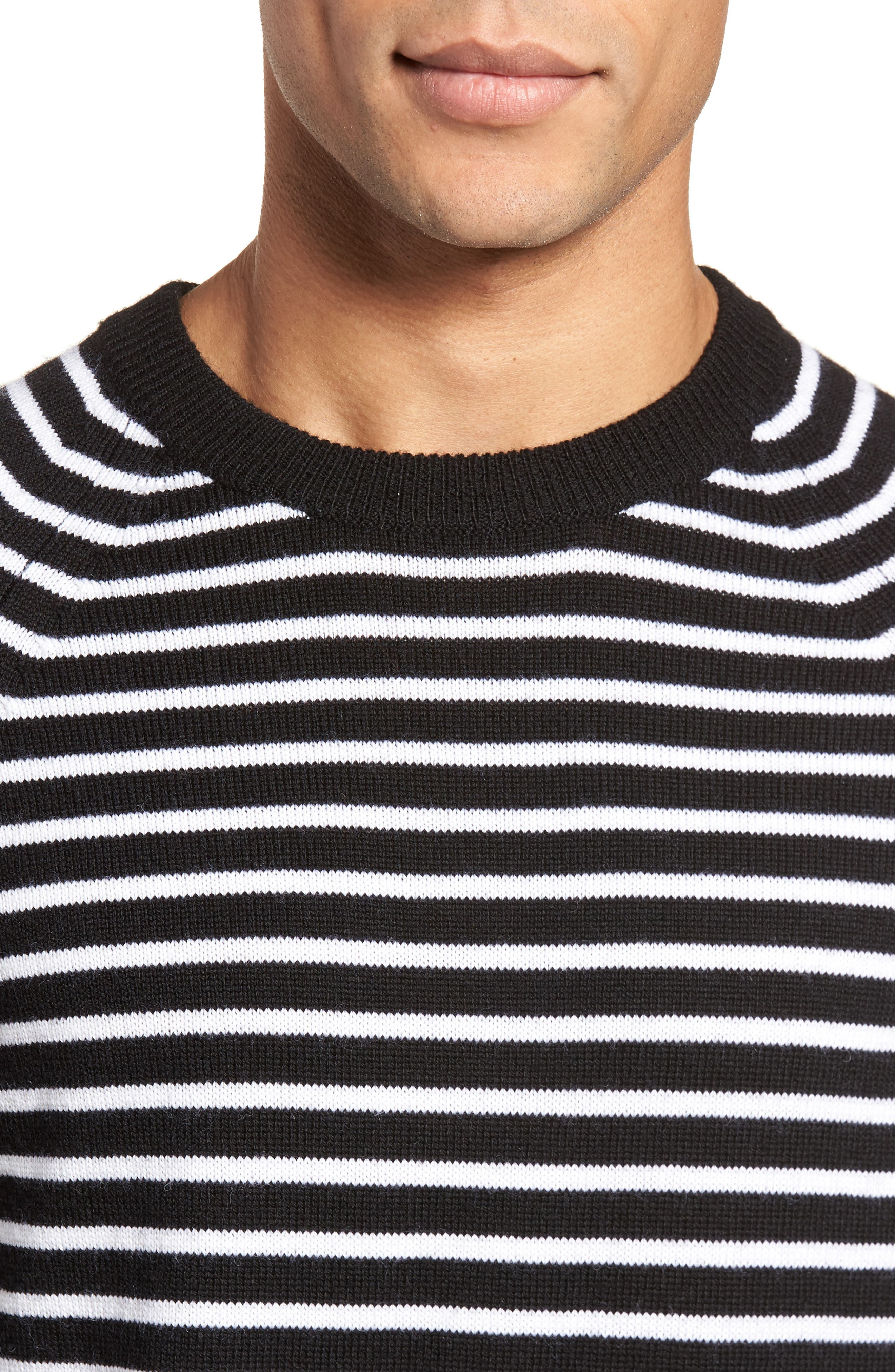 Regular Fit Striped Wool Sweater,                             Alternate thumbnail 4, color,                             001