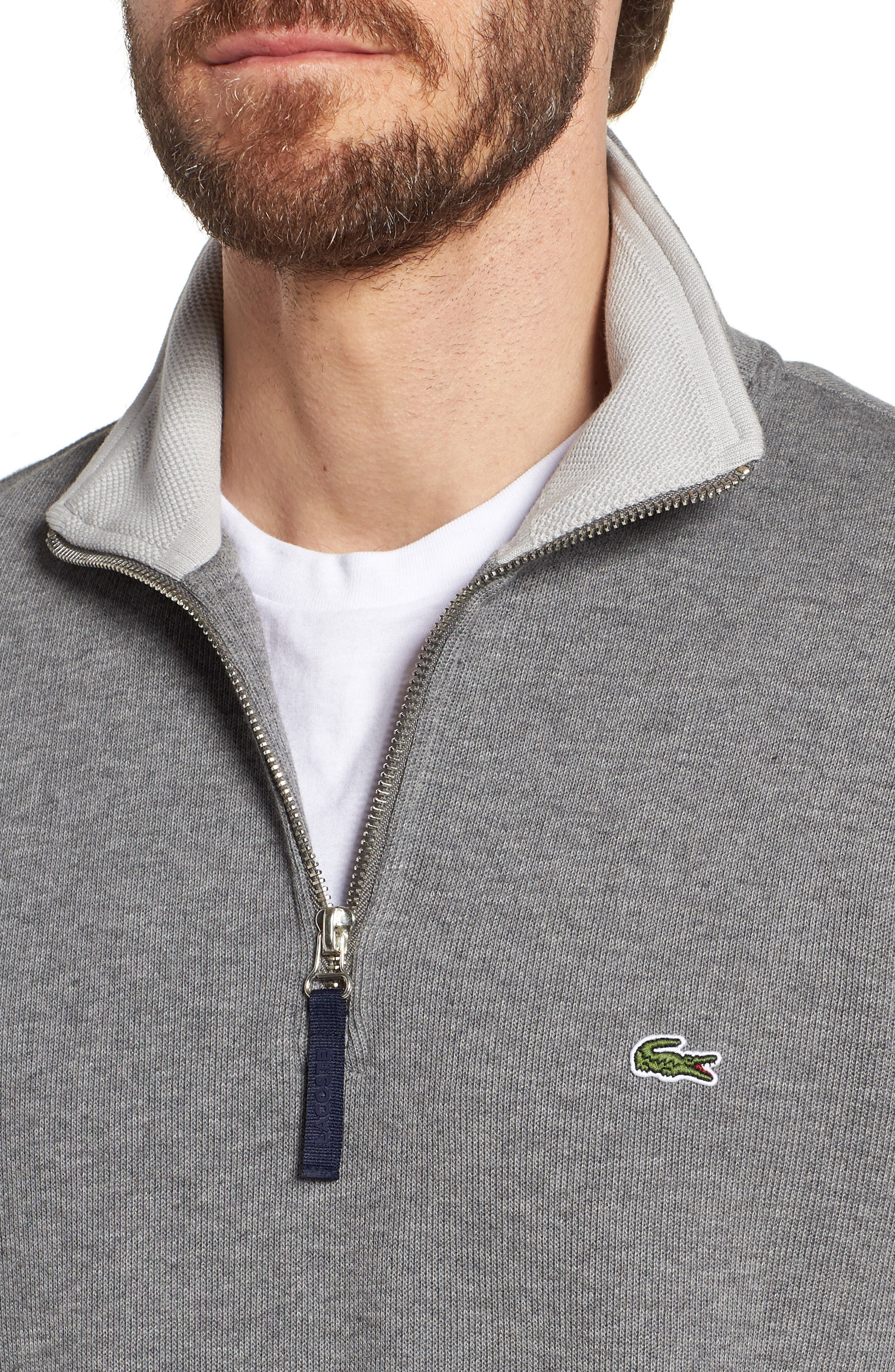 Quarter Zip Cotton Interlock Sweatshirt,                             Alternate thumbnail 4, color,                             GALAXITE CHINE/ NIMBUS