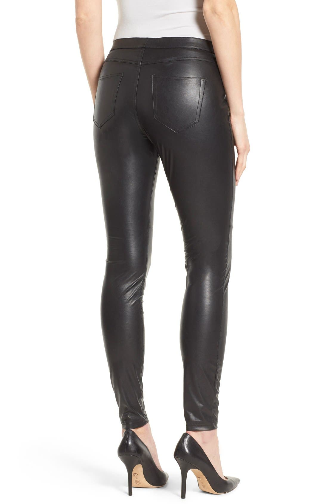 'Leatherette Skimmer' Faux Leather Leggings,                             Alternate thumbnail 6, color,                             001