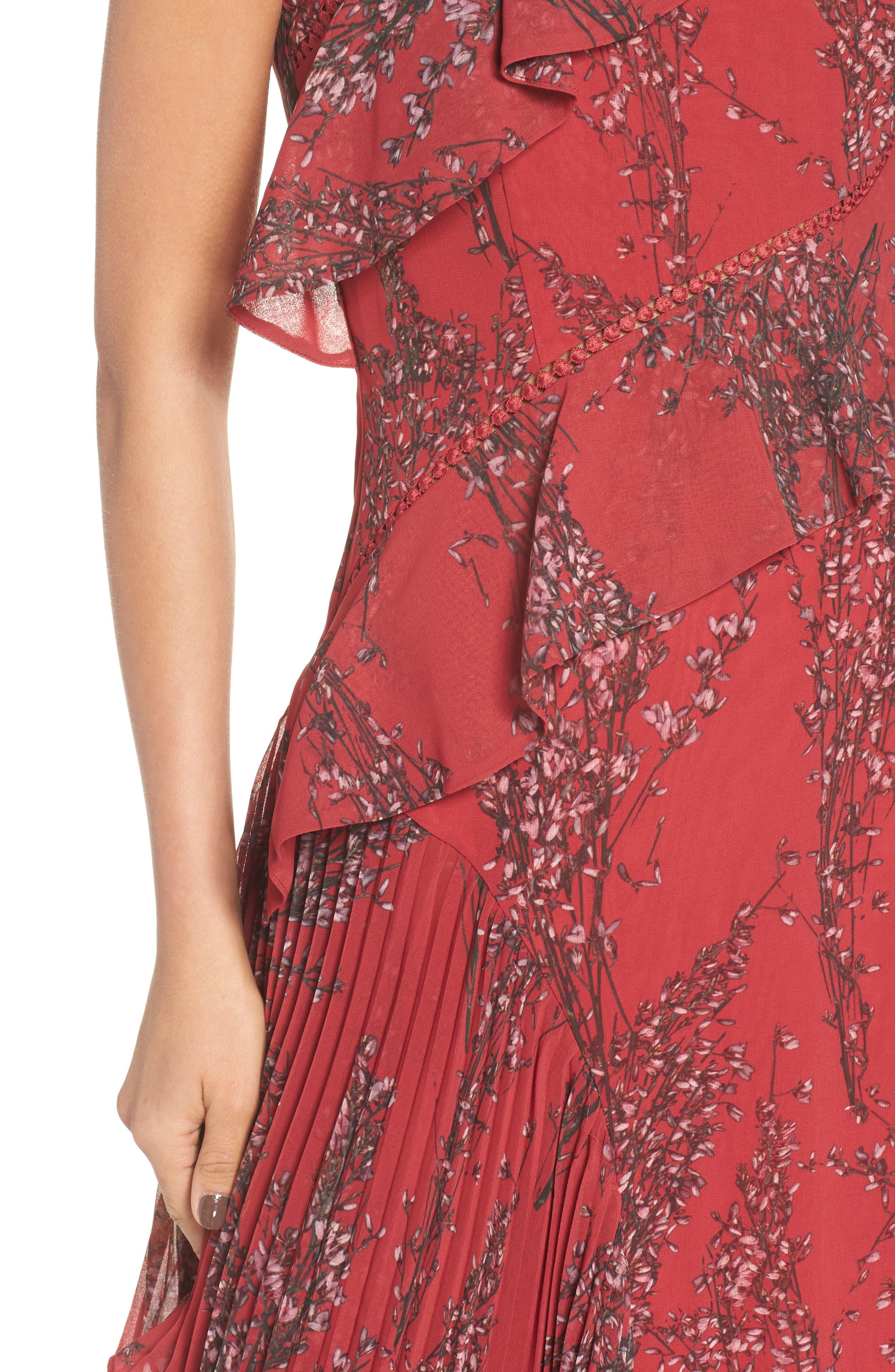 Asymmetrical Ruffle Dress,                             Alternate thumbnail 4, color,                             622