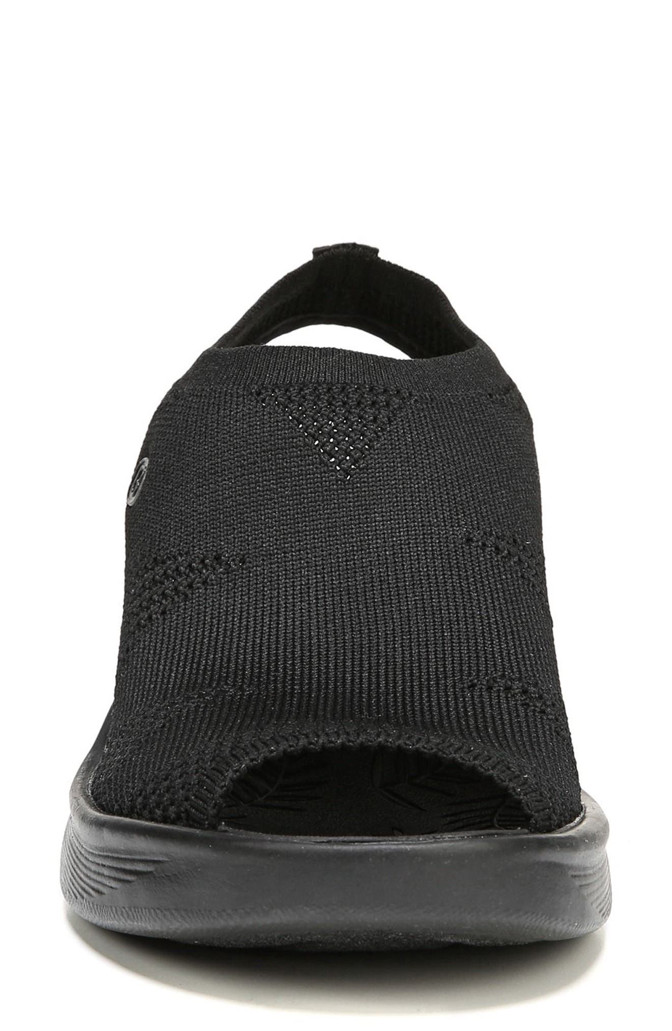 Secret Peep Toe Knit Sneaker,                             Alternate thumbnail 4, color,                             BLACK FABRIC