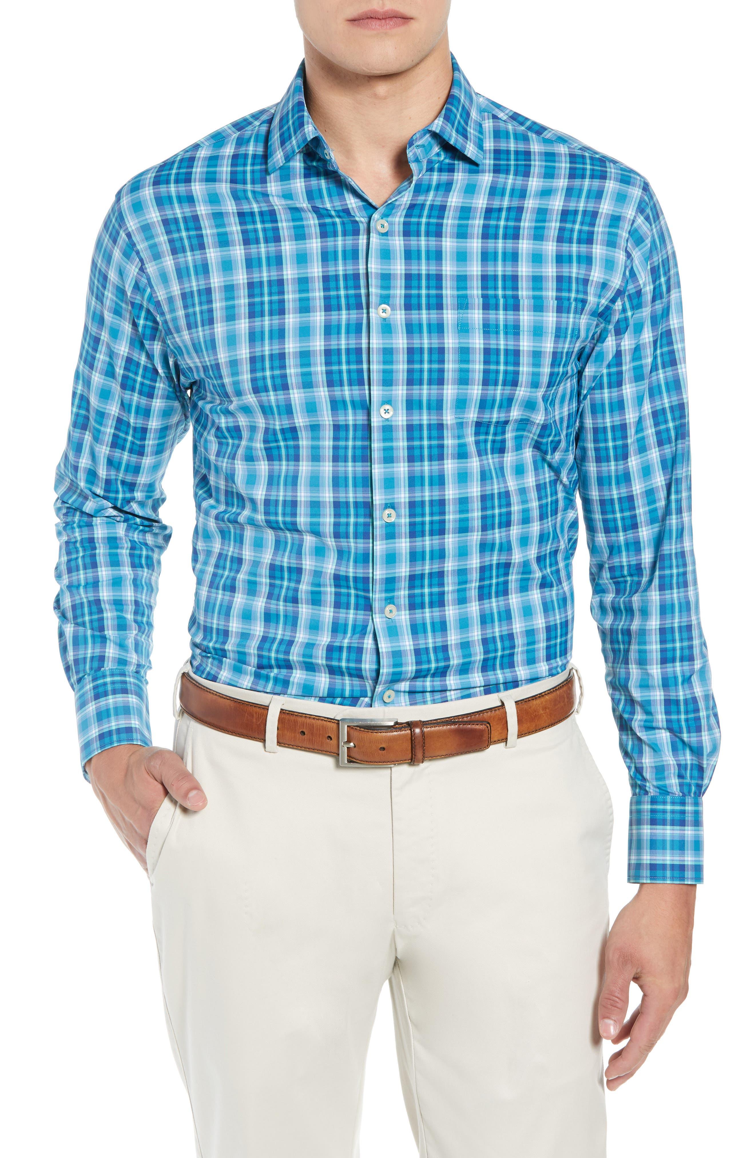 Van Regular Fit Check Performance Sport Shirt,                         Main,                         color, BLUE