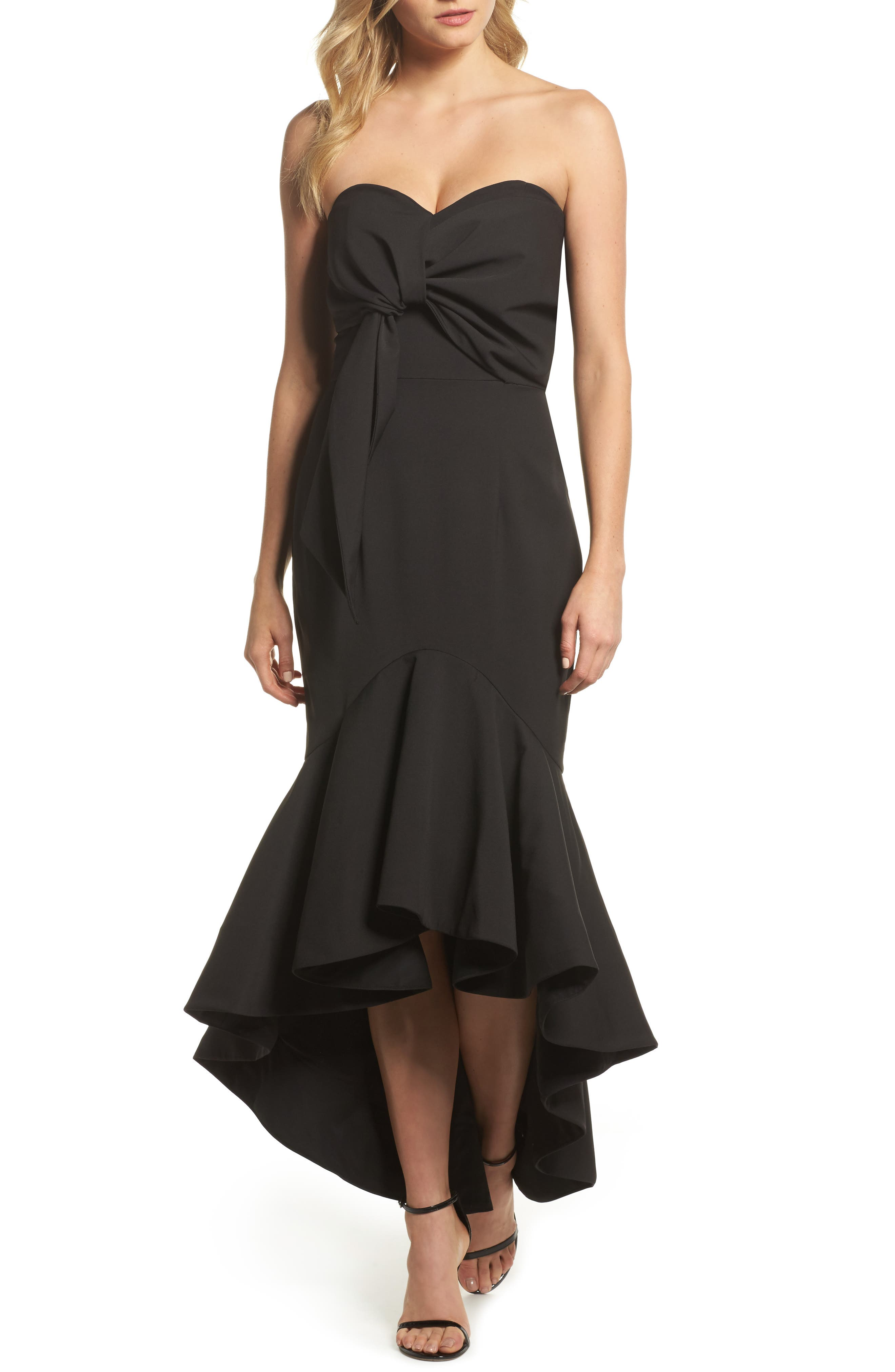 Freda Knotted Strapless Mermaid Gown,                         Main,                         color, BLACK