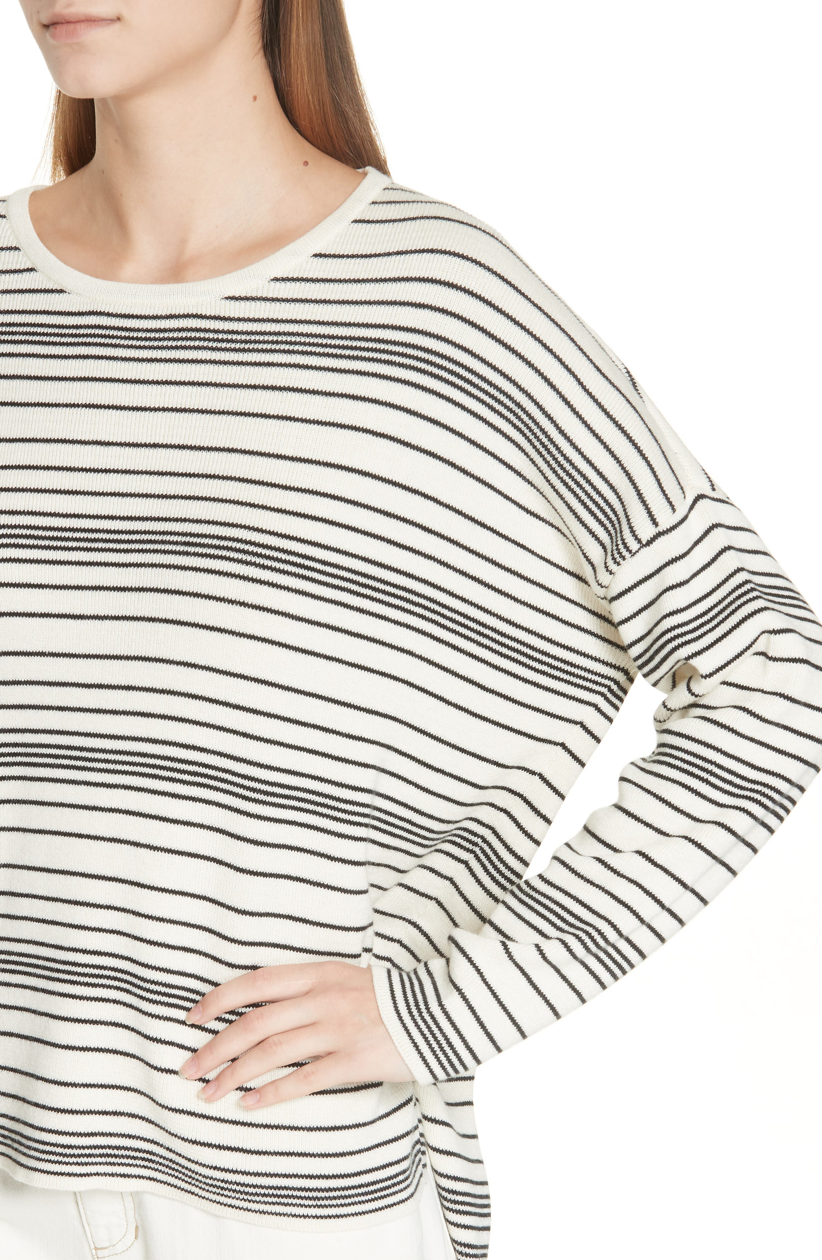 Stripe Organic Cotton Sweater,                             Alternate thumbnail 4, color,                             SOFT WHITE/ BLACK