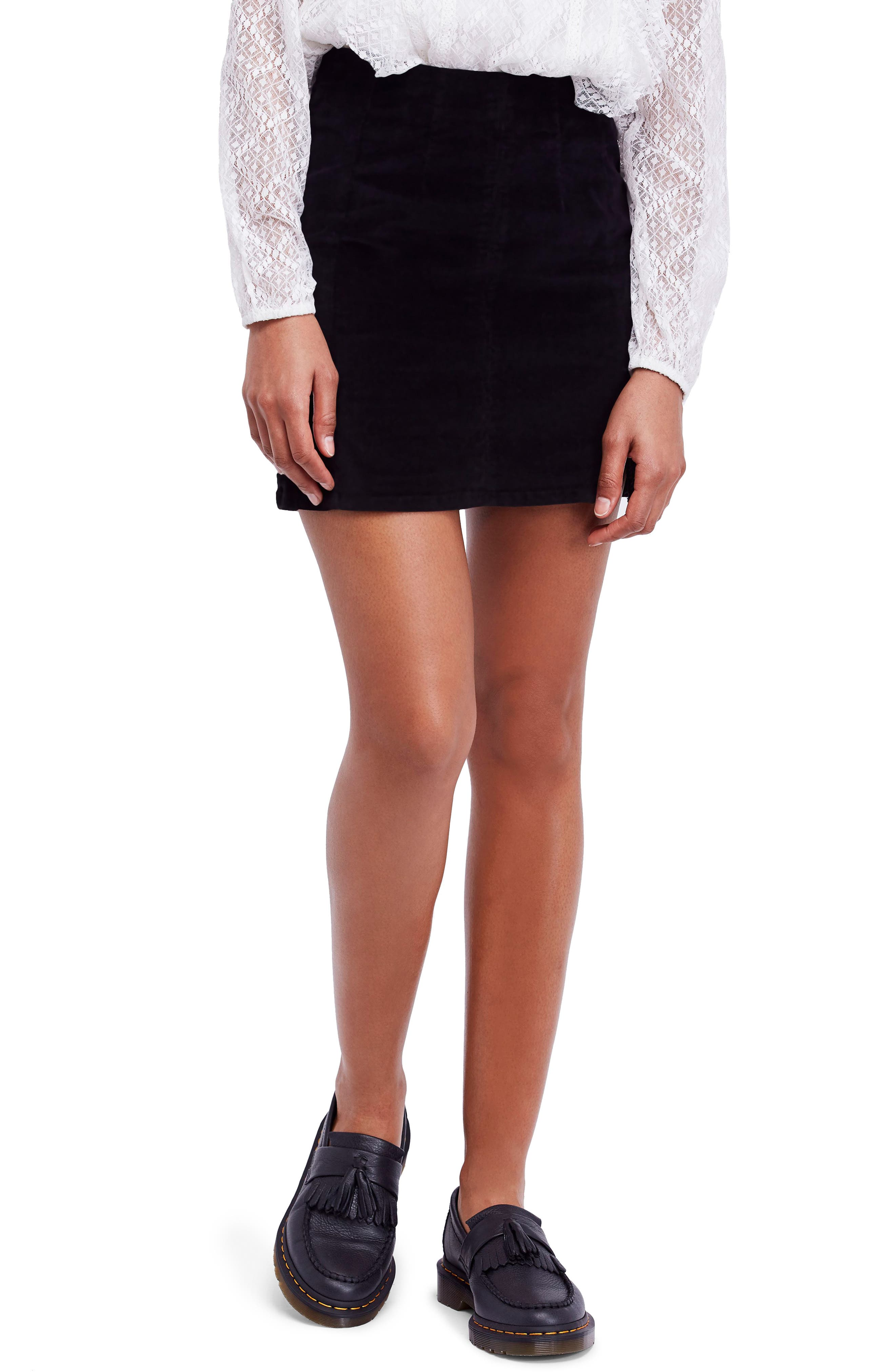 Corduroy Miniskirt,                         Main,                         color, INK