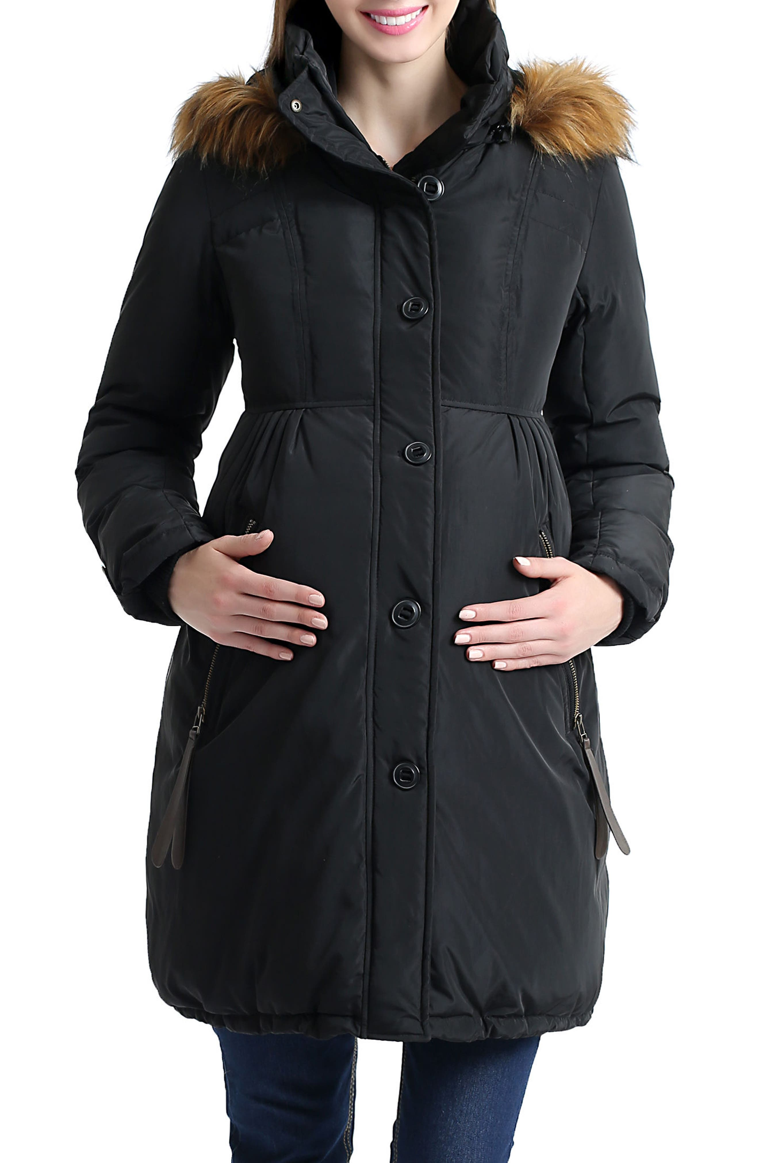 Lilly Water Resistant Down Maternity Parka,                             Main thumbnail 1, color,                             BLACK