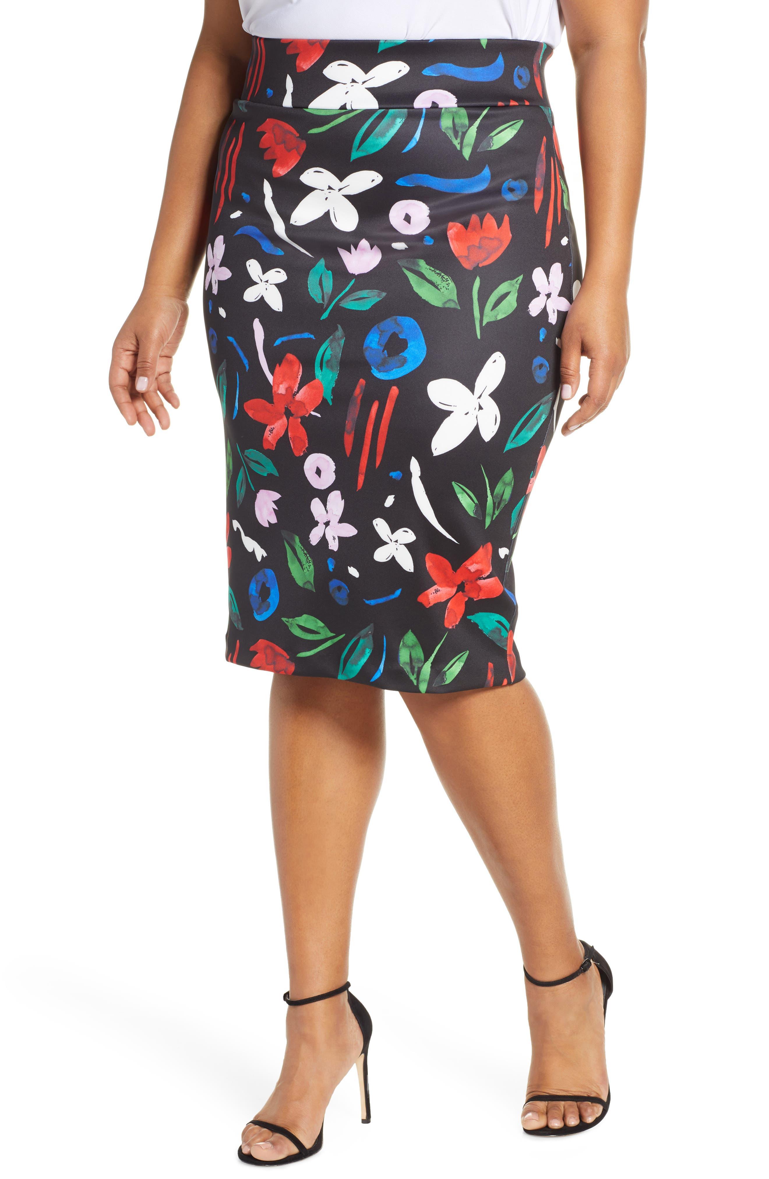 Plus Size Eloquii Floral Neoprene Pencil Skirt, Black