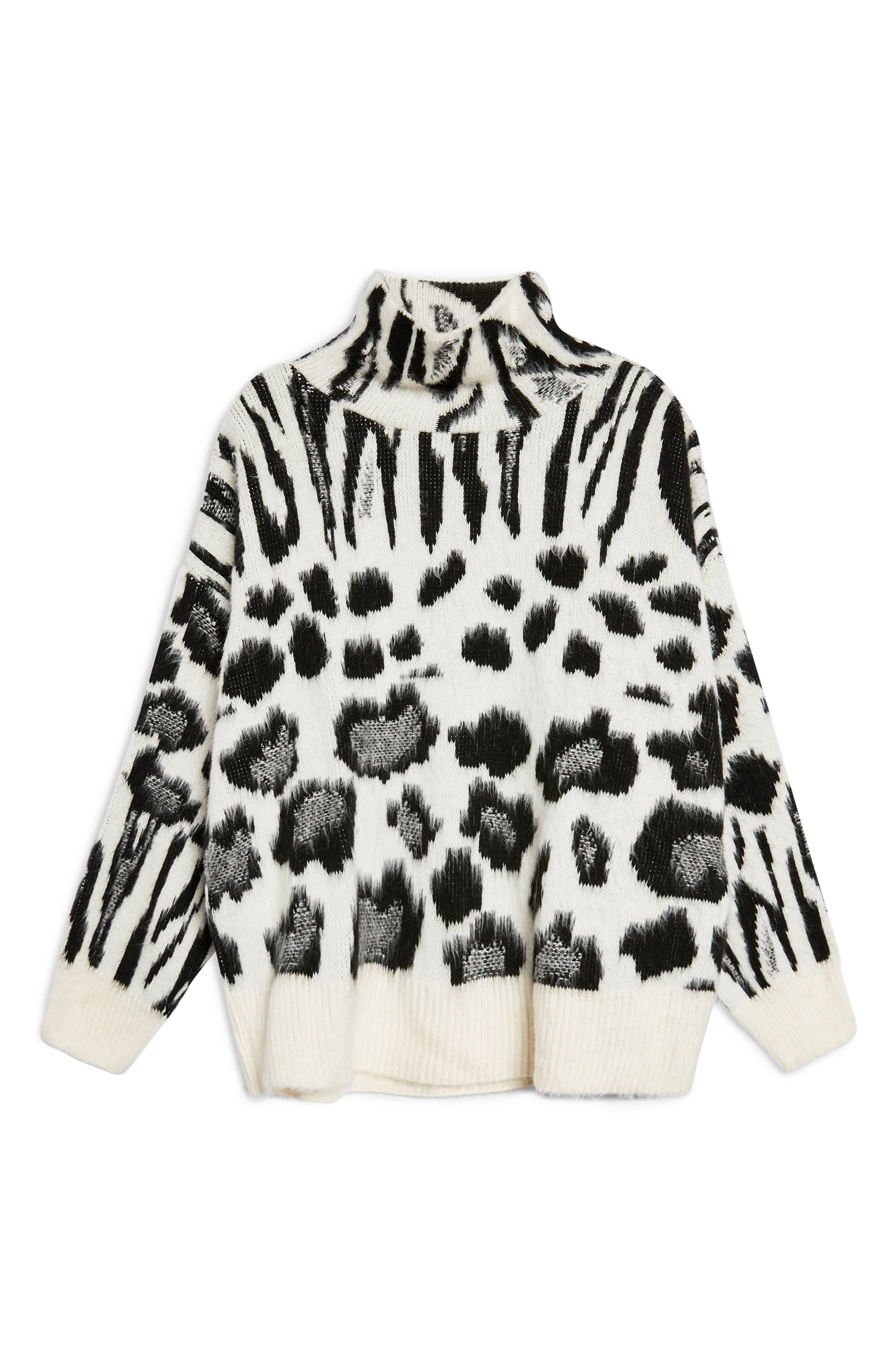 Zebra Mix Turtleneck Sweater,                             Alternate thumbnail 4, color,                             BLACK MULTI