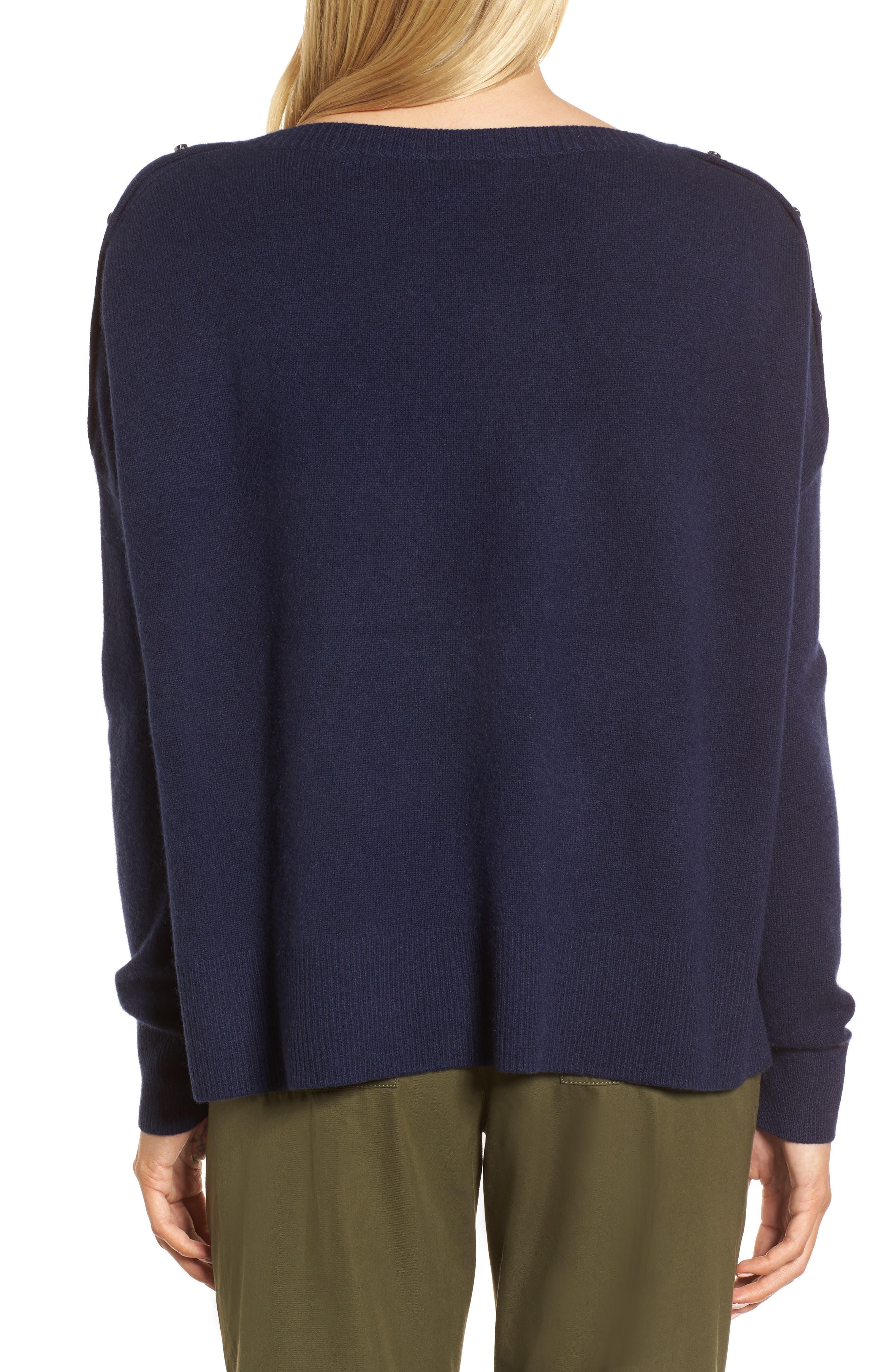 Button Detail Cashmere Sweater,                             Alternate thumbnail 4, color,