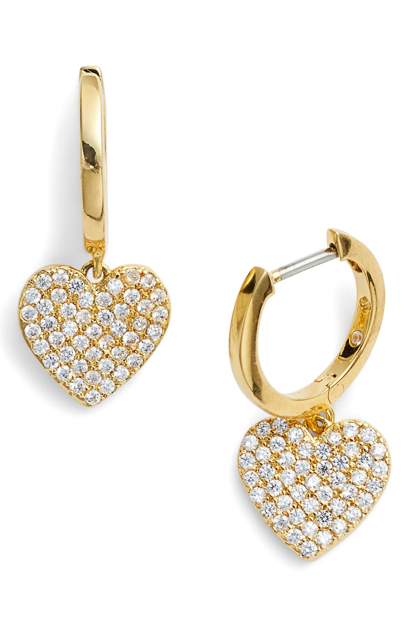 yours truly pave heart drop earrings,                             Main thumbnail 3, color,