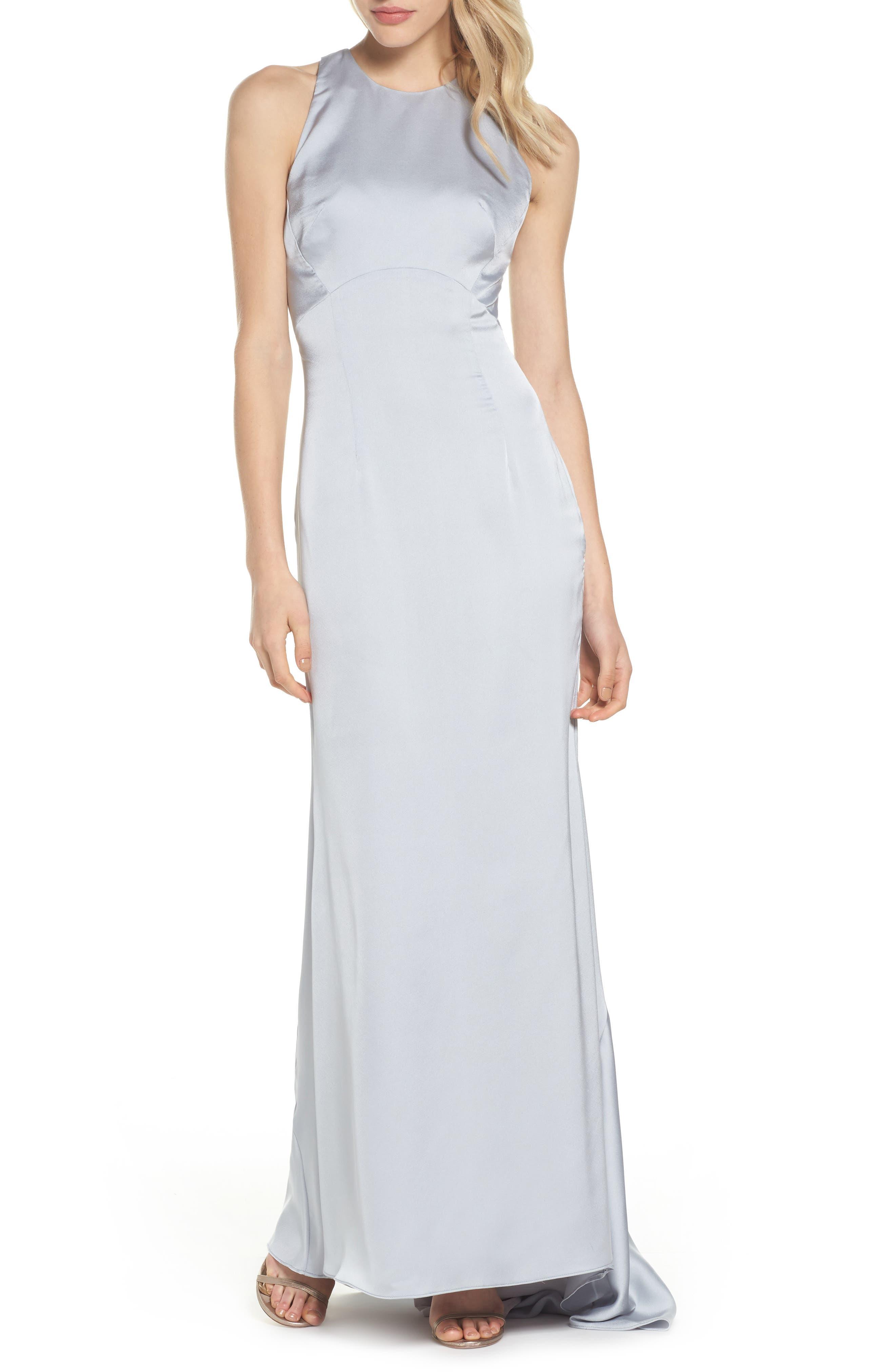 Amara Cross Back Satin Gown,                         Main,                         color, 044