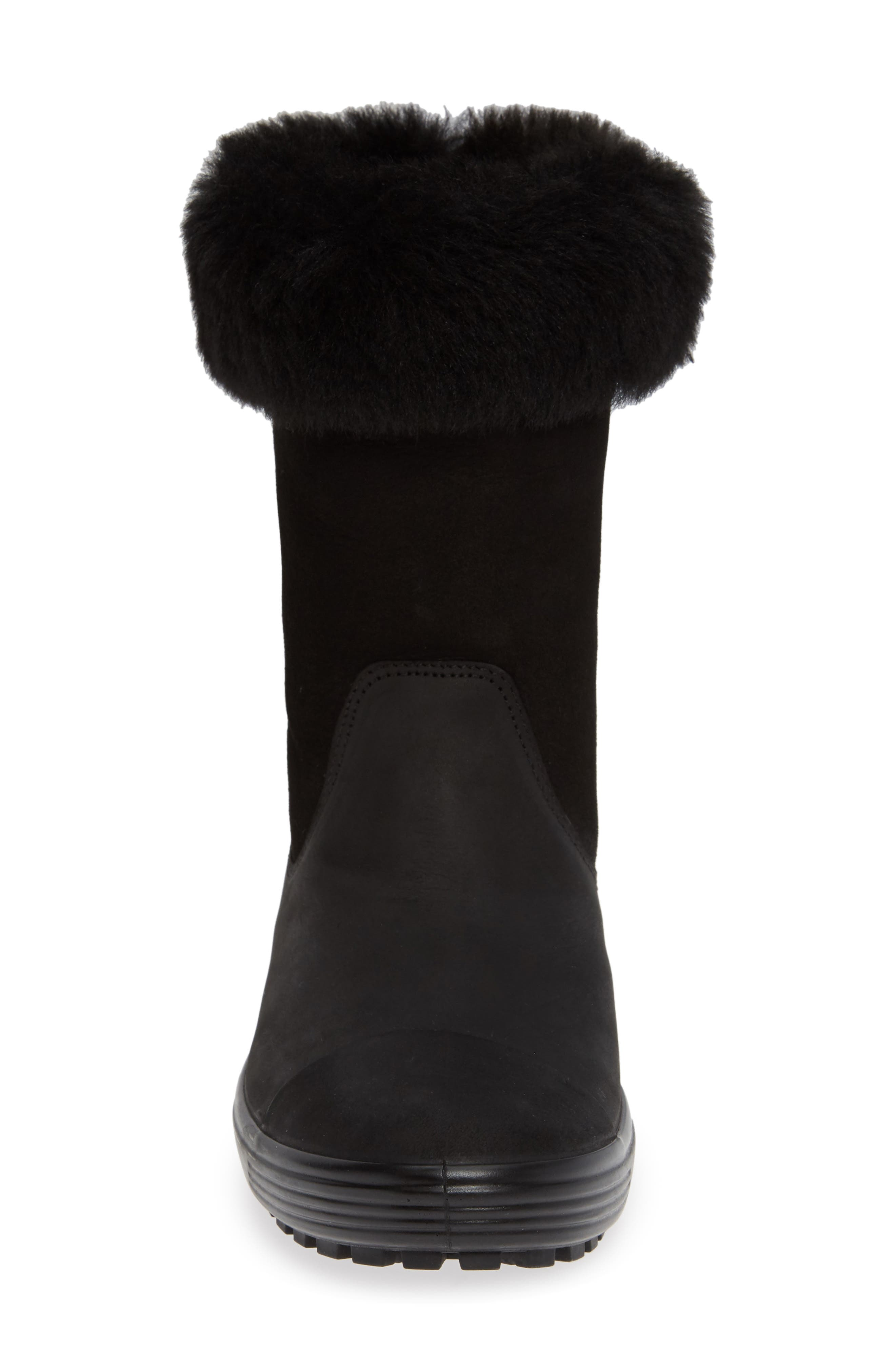 Soft 7 Tred Waterproof Genuine Shearling Lined Boot,                             Alternate thumbnail 5, color,                             BLACK NUBUCK LEATHER