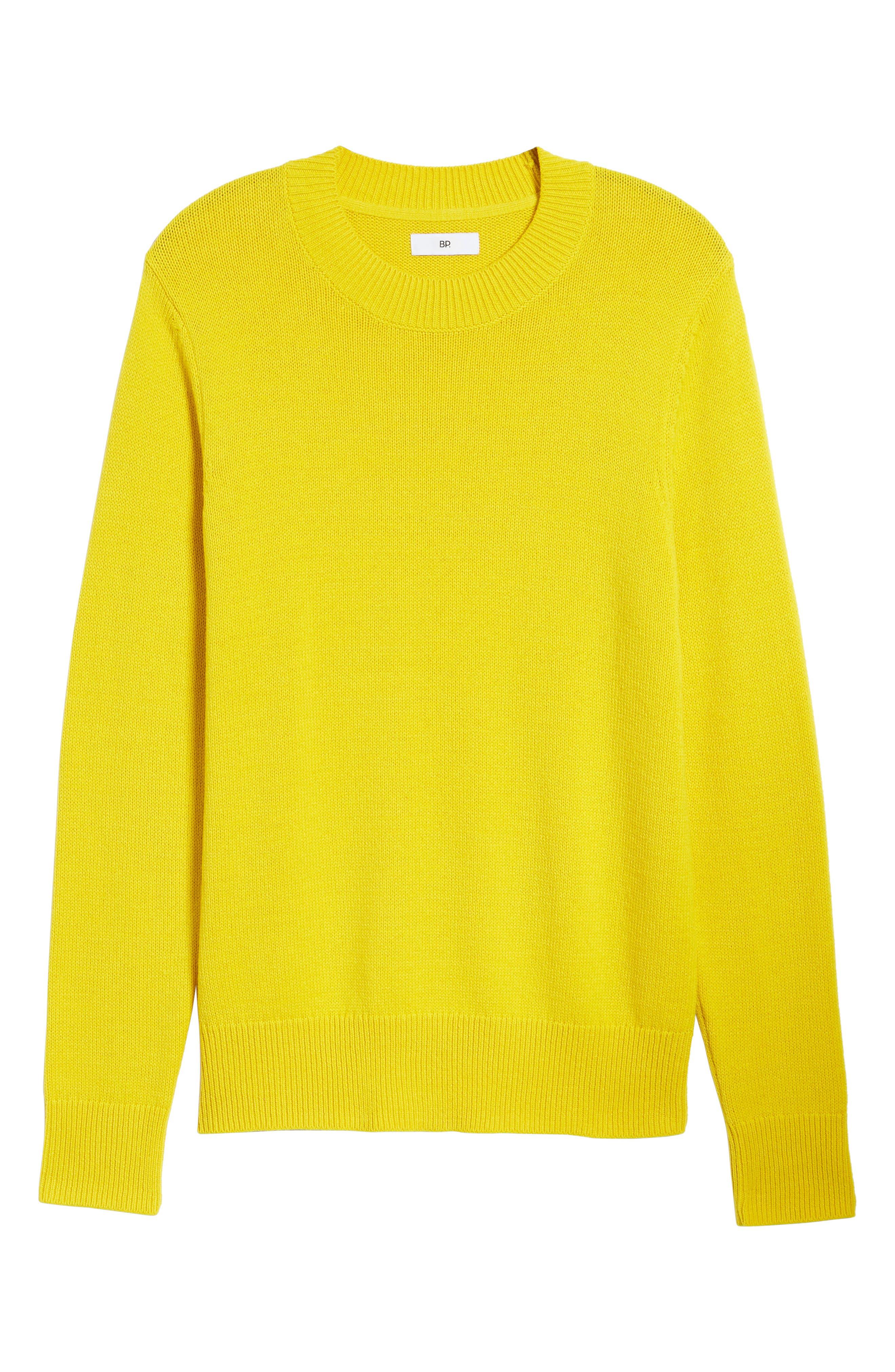 Crewneck Sweater,                             Alternate thumbnail 6, color,                             YELLOW SULPHUR