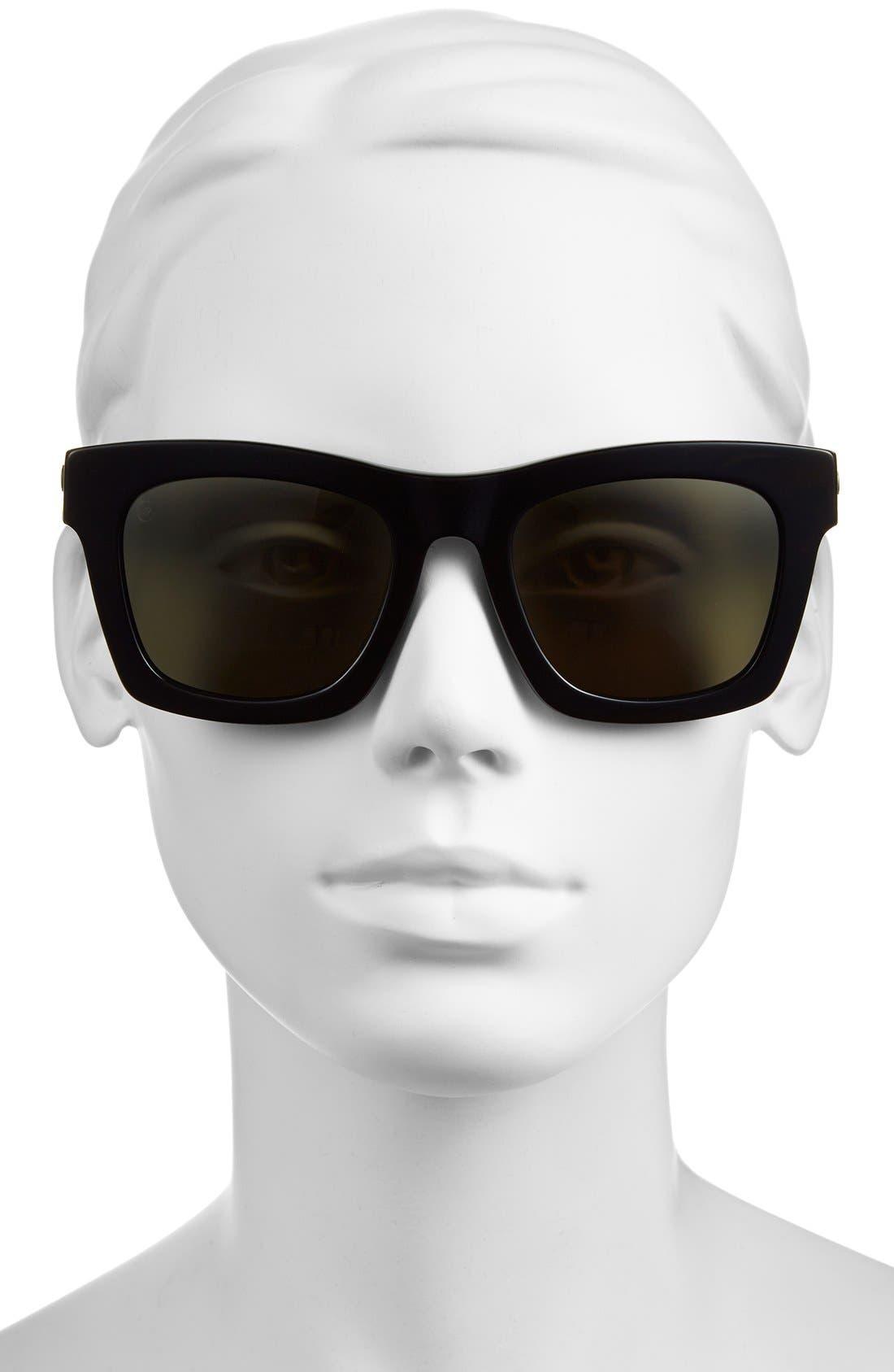 'Crasher' 54mm Retro Sunglasses,                             Alternate thumbnail 3, color,                             GLOSS BLACK/ GREY
