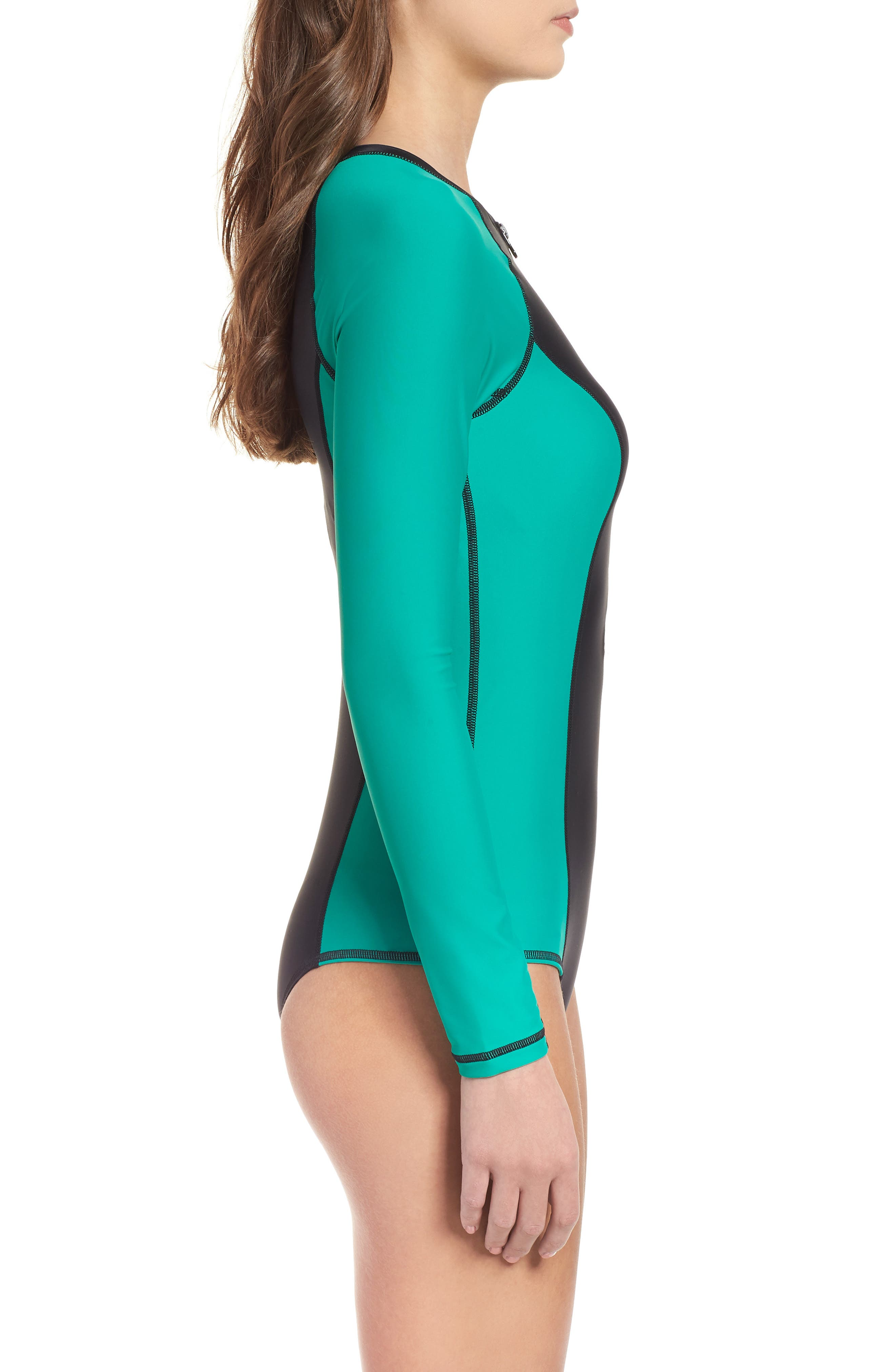 Simply Solid Long Sleeve One-Piece Swimsuit,                             Alternate thumbnail 3, color,                             307