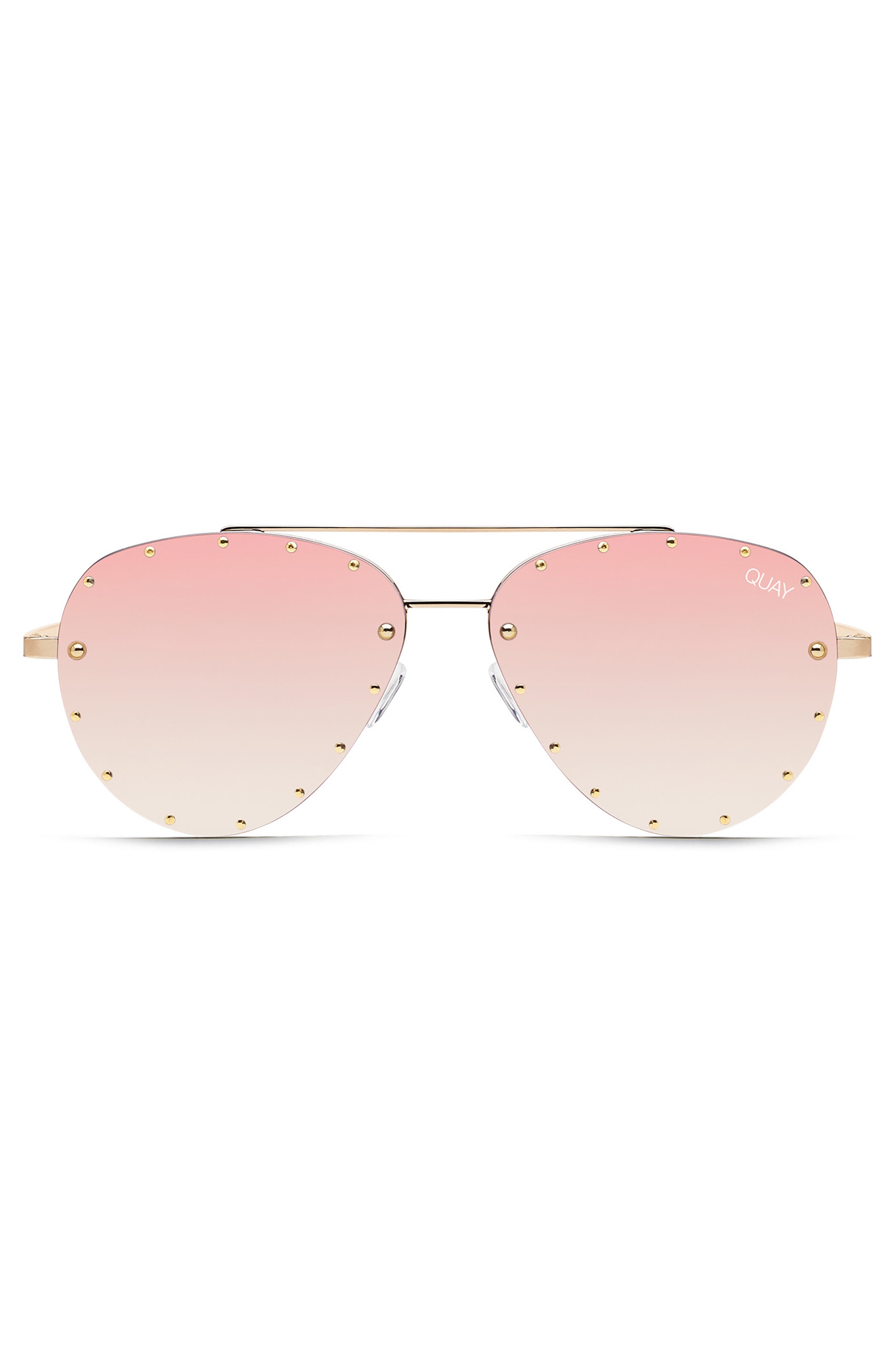 x Jaclyn Hill Roxanne 62mm Stud Aviator Sunglasses,                             Alternate thumbnail 2, color,                             GOLD / ROSE