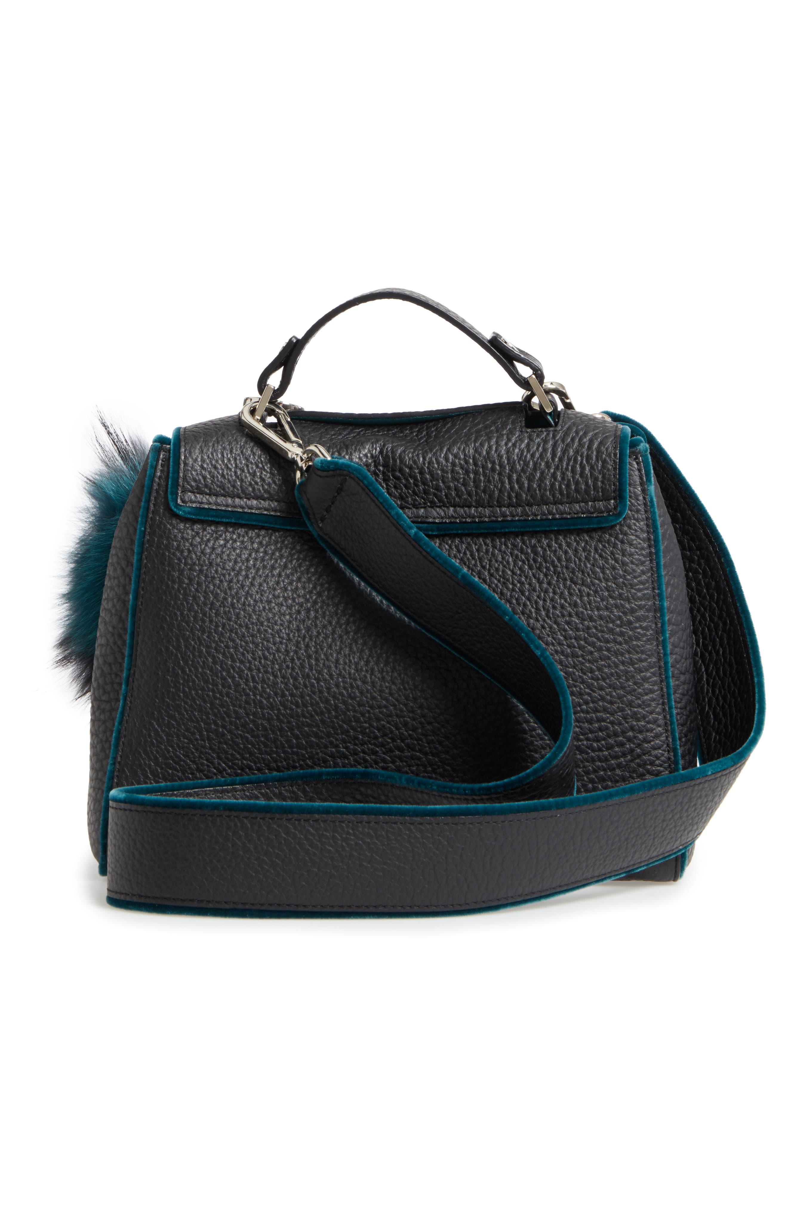 Small Sveva Soft Leather Top Handle Satchel with Genuine Fur Bag Charm,                             Alternate thumbnail 3, color,                             300