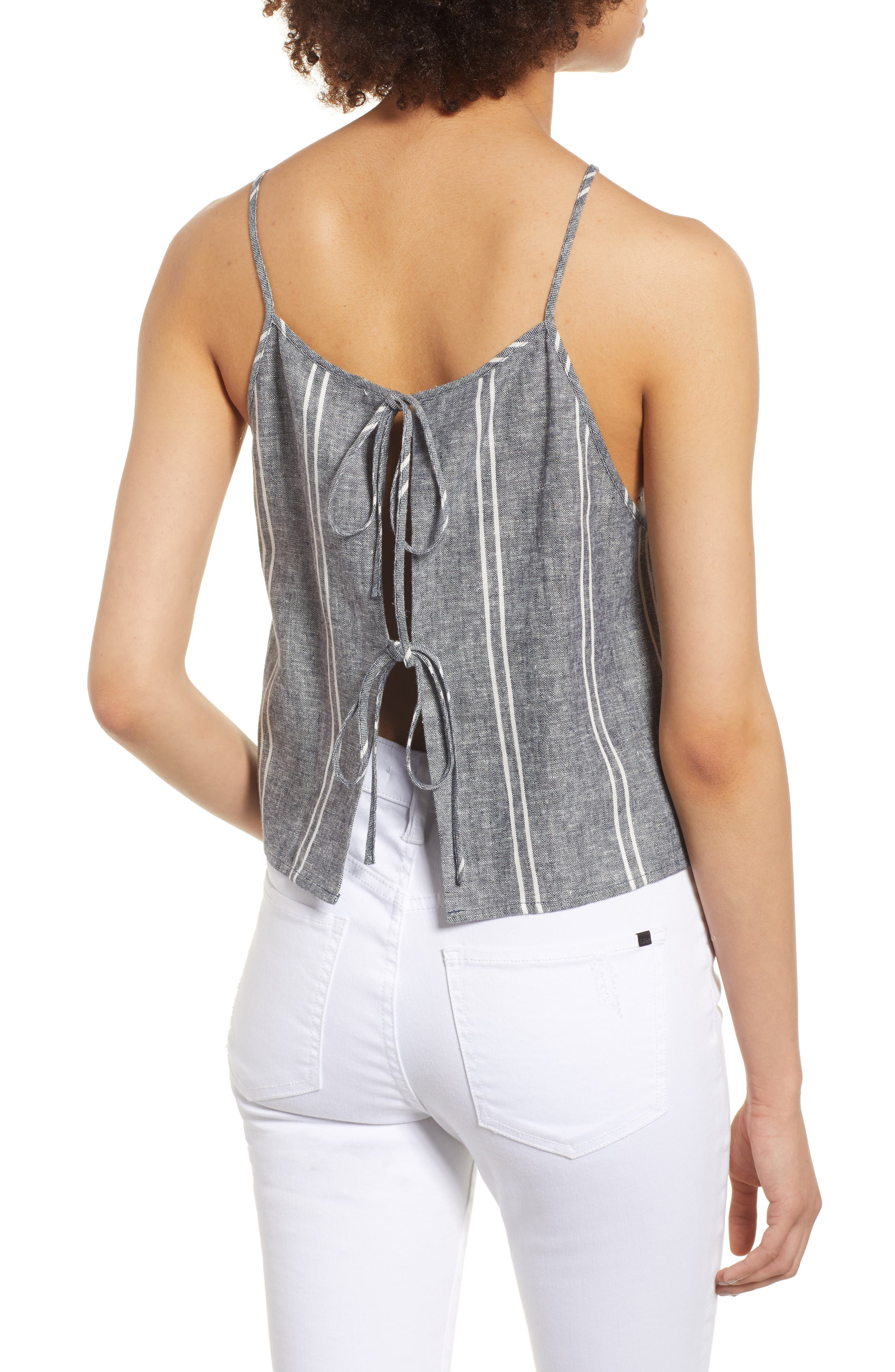 Stripe Linen Blend Tank,                             Alternate thumbnail 2, color,                             NAVY PEACOAT CHAMBRAY STRIPE