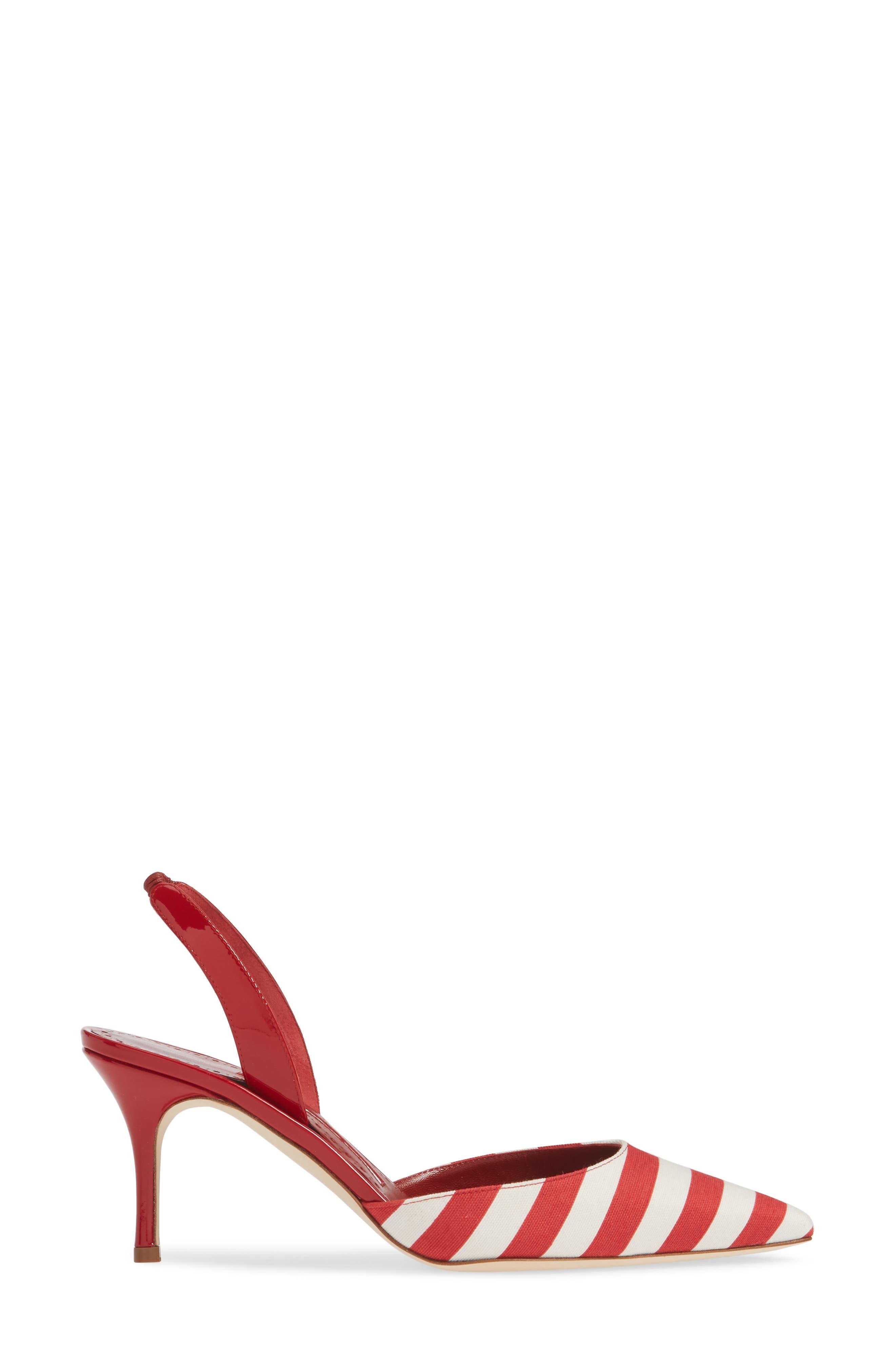 'Carolyne' Pointy Toe Slingback Pump,                             Alternate thumbnail 3, color,                             RED/ WHITE STRIPE