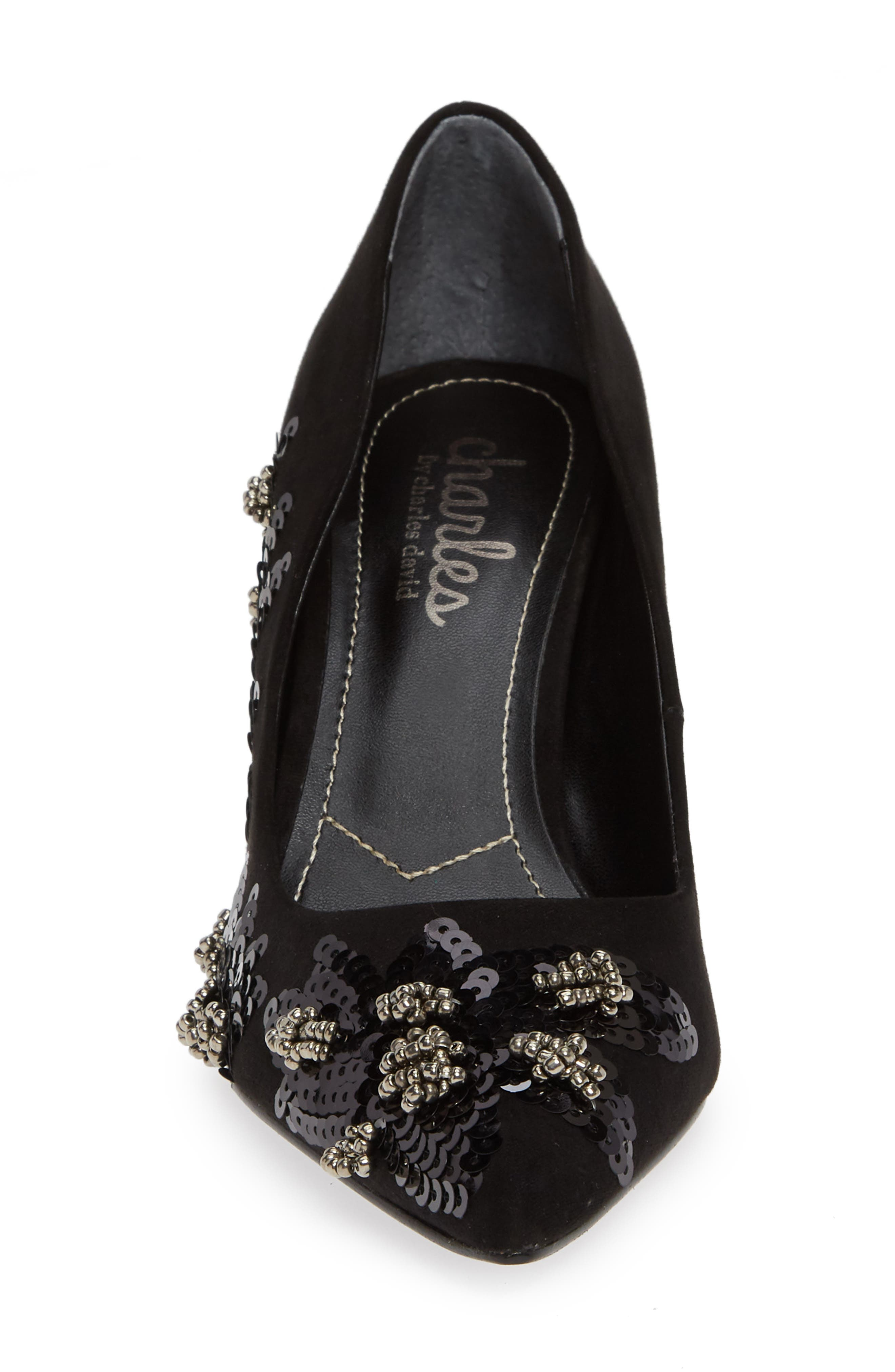 Sophie Embellished Pump,                             Alternate thumbnail 4, color,                             BLACK SUEDE