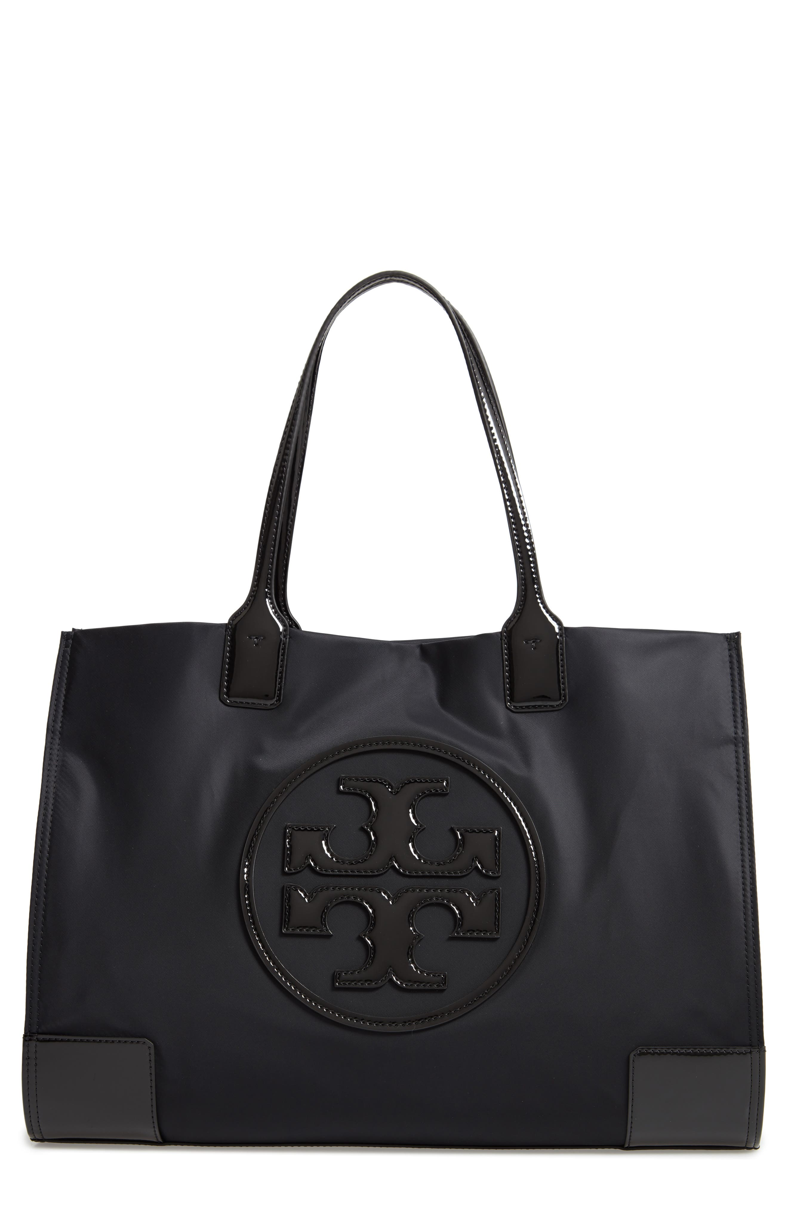 Ella Large Studded Nylon & Leather Tote in Black