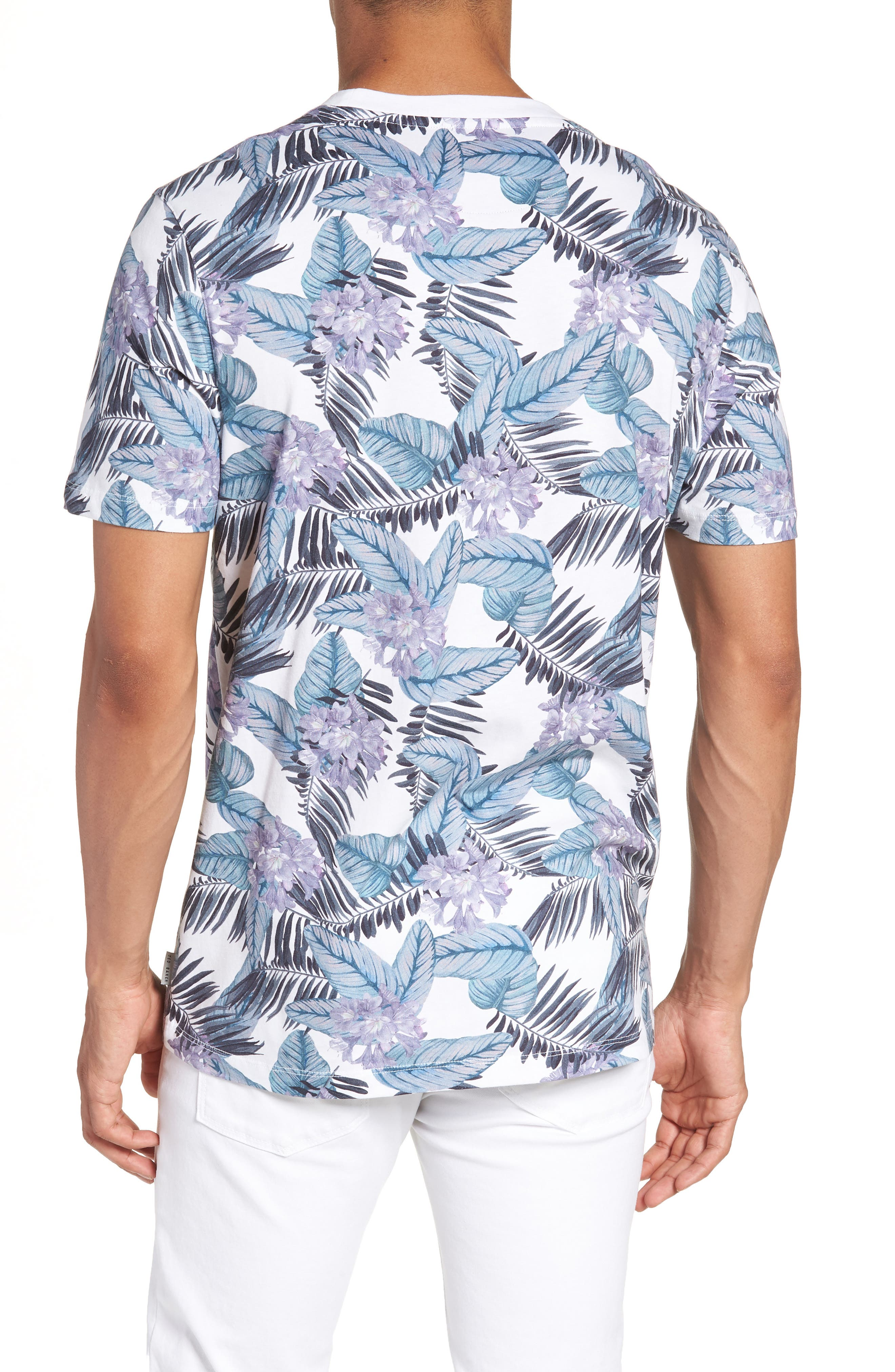 Slim Fit Tinned Floral Graphic T-Shirt,                             Alternate thumbnail 2, color,                             WHITE