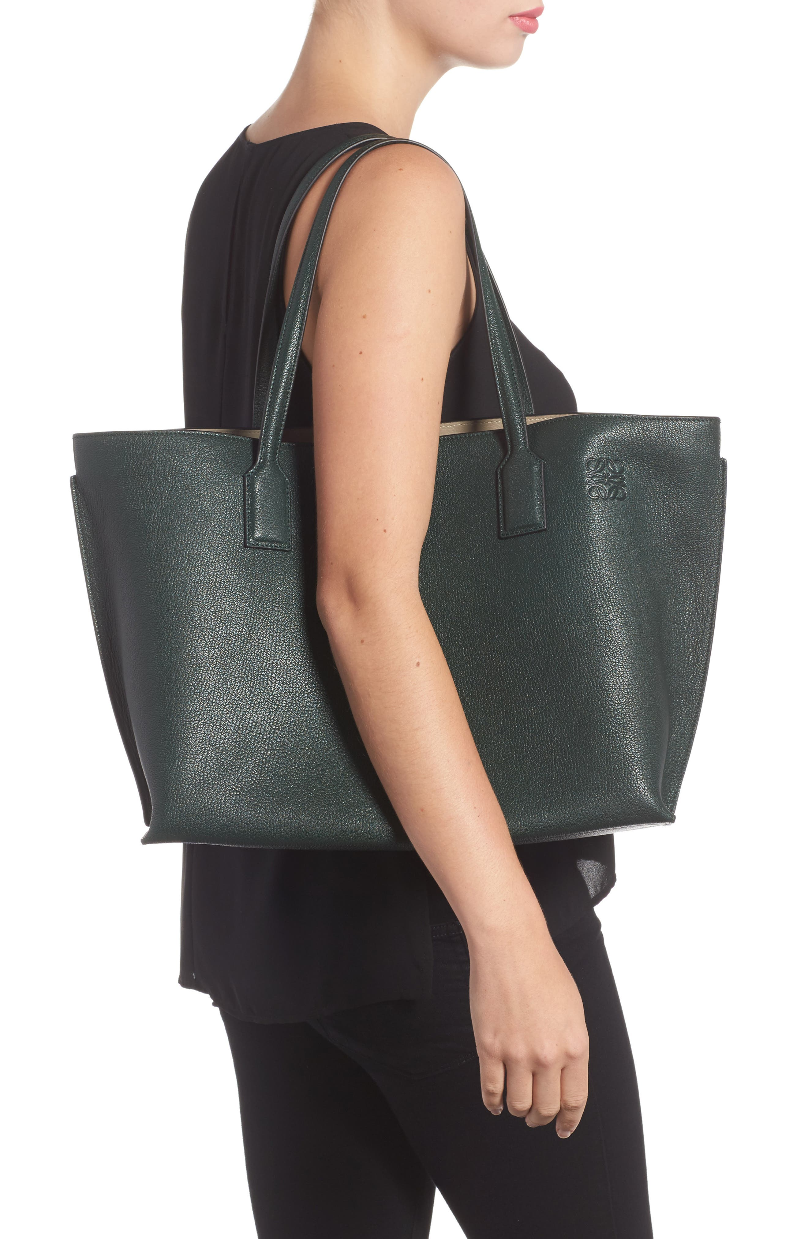 Large Leather T-Shopper,                             Alternate thumbnail 2, color,                             350