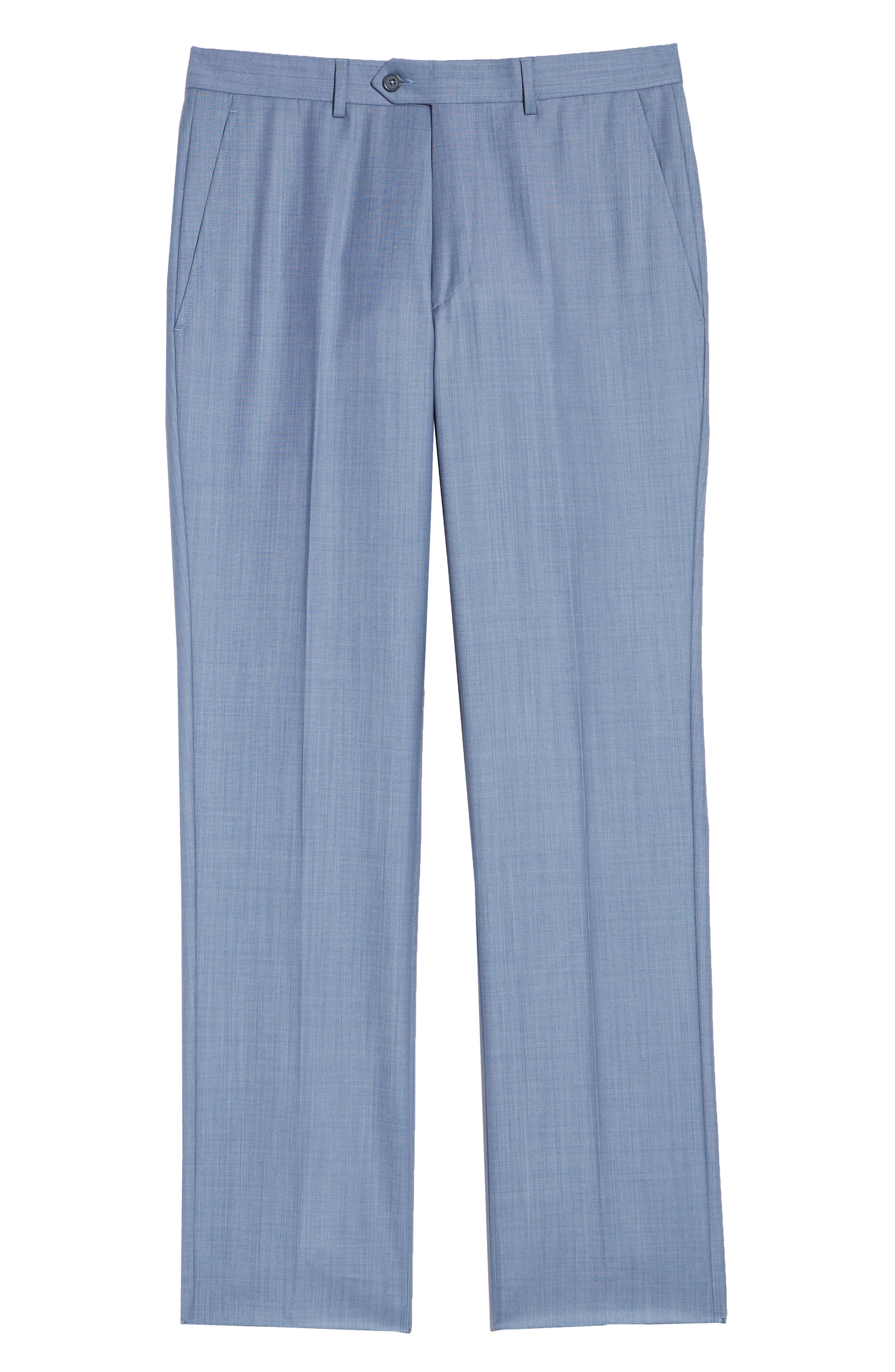 Flat Front Sharkskin Wool Trousers,                             Alternate thumbnail 6, color,                             LIGHT BLUE