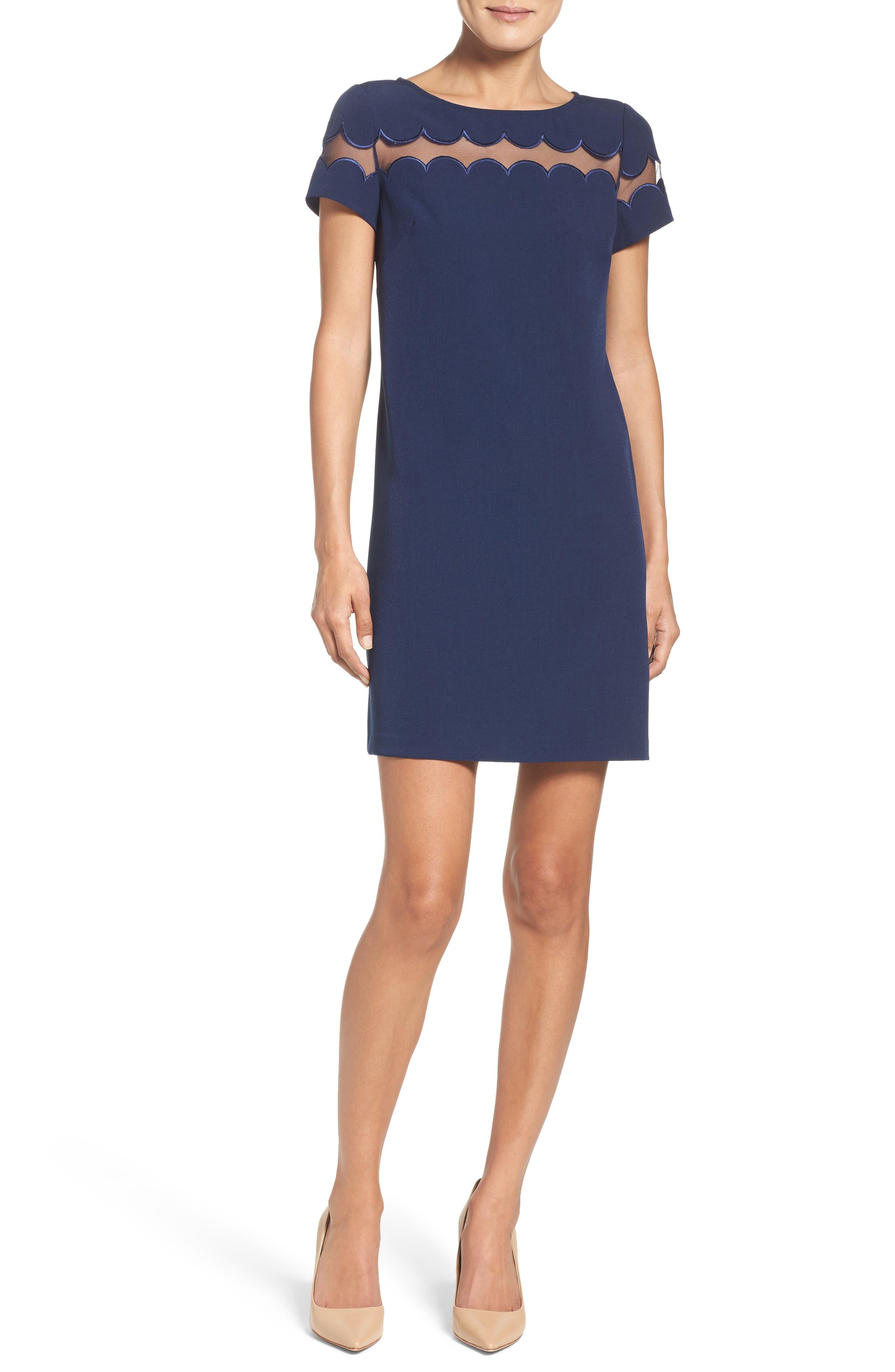 Scallop Inset Crepe Sheath Dress,                             Alternate thumbnail 5, color,                             412