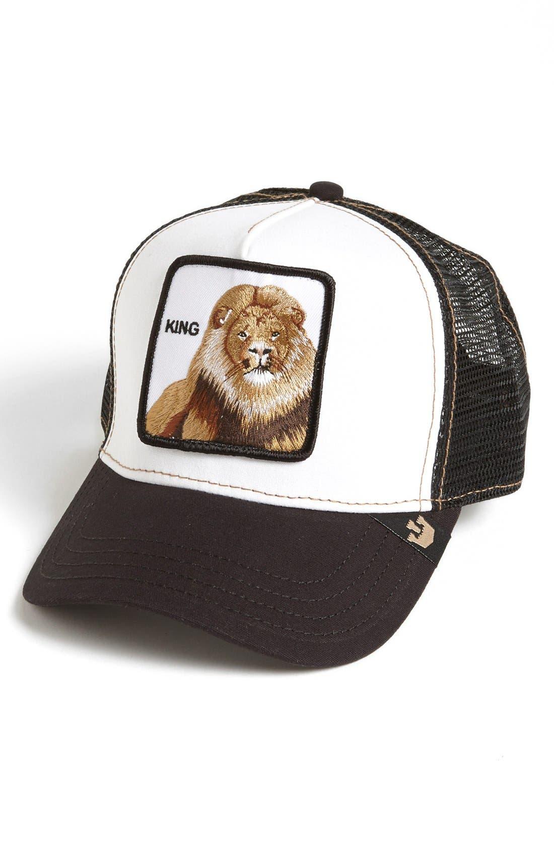 GOORIN BROTHERS,                             'Animal Farm - King' Trucker Hat,                             Main thumbnail 1, color,                             BLACK
