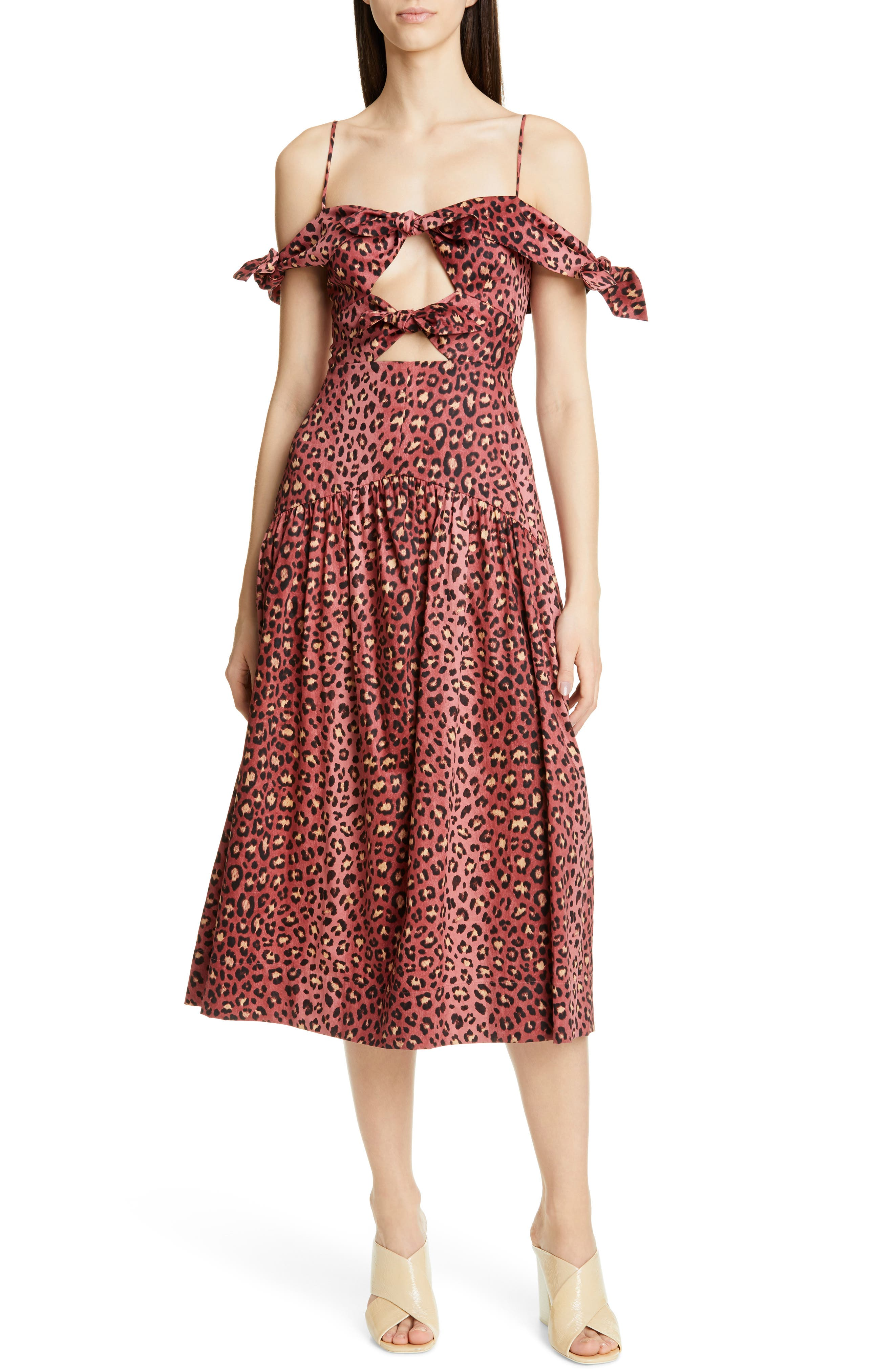 Rebecca Taylor Bow Detail Leopard Print Cold Shoulder Cotton Midi Dress, Pink