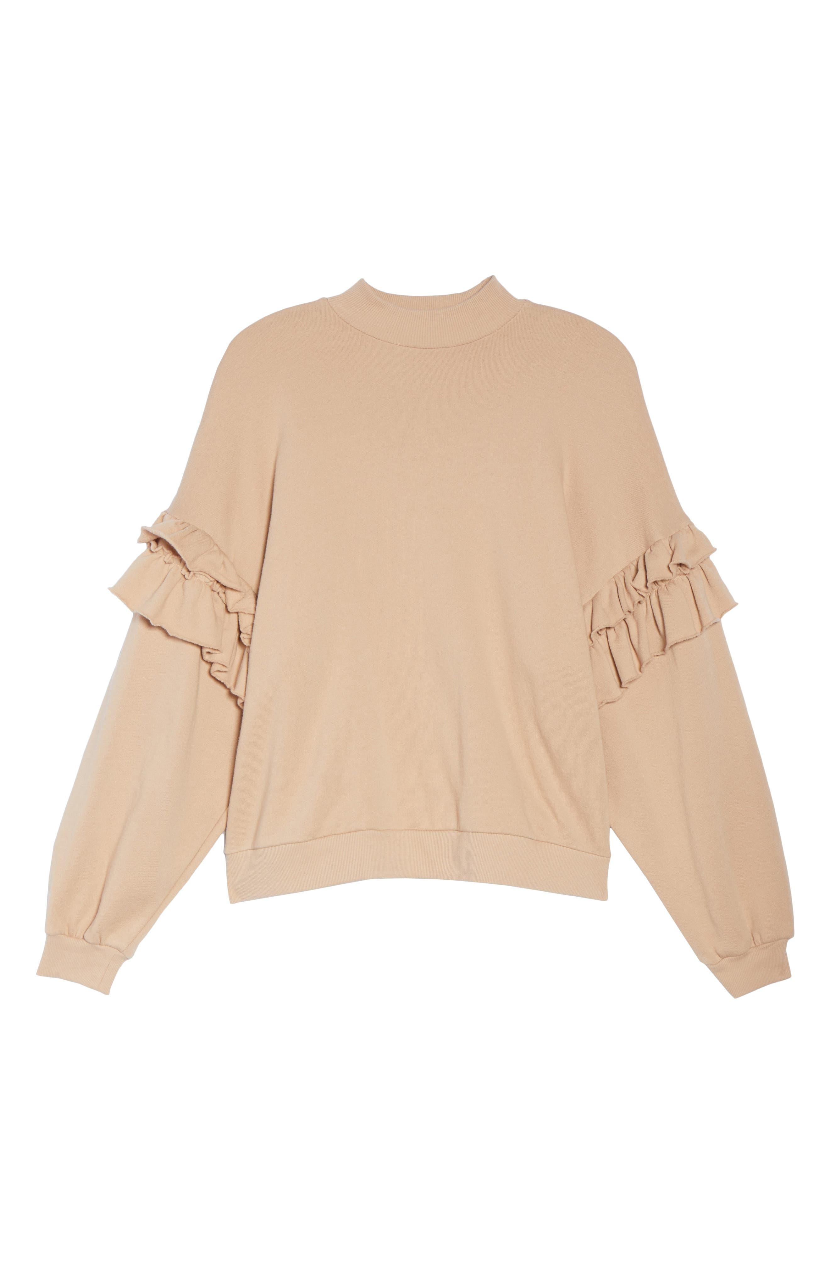 Ruffle Sweatshirt,                             Alternate thumbnail 6, color,