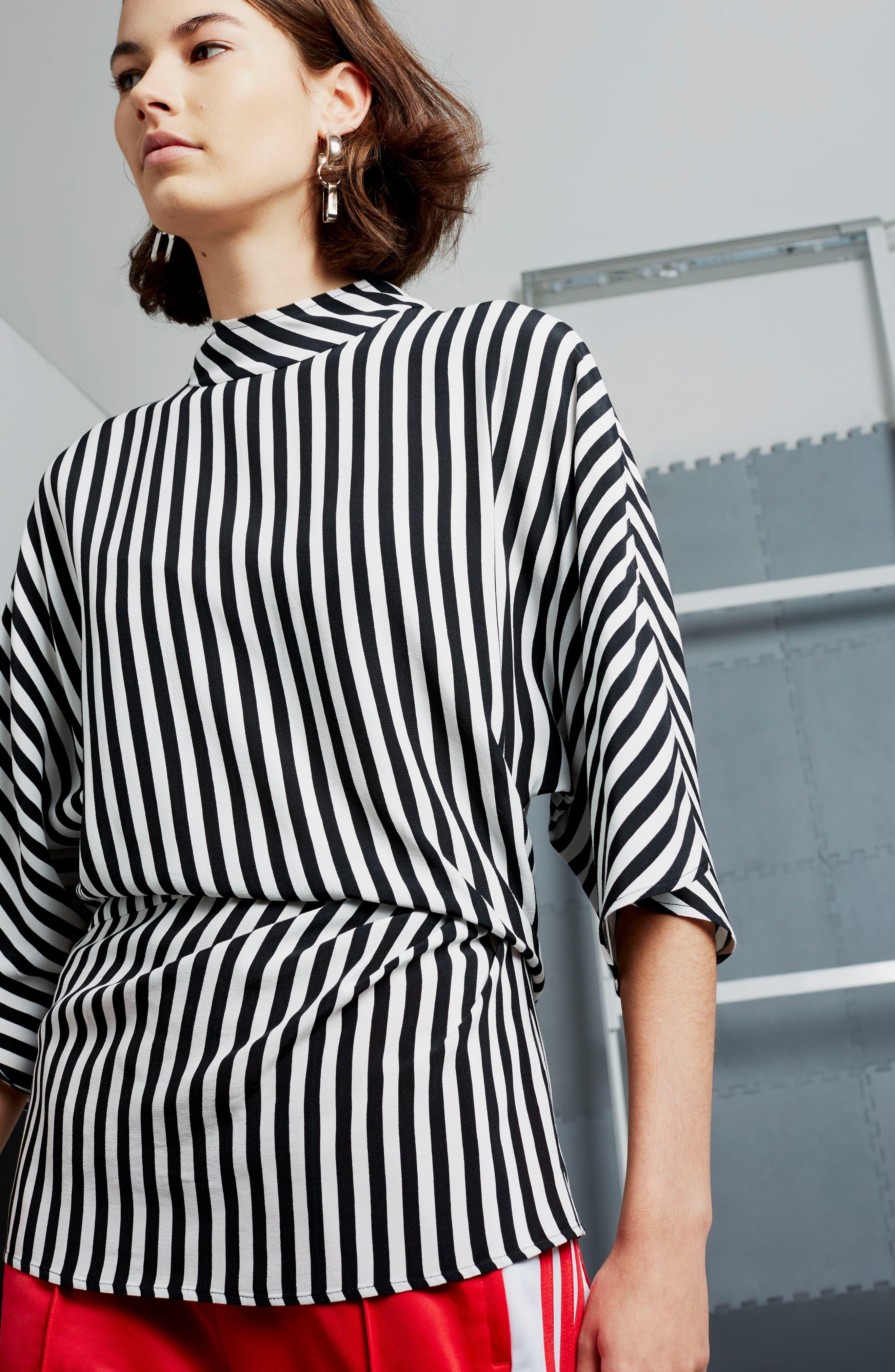 Stripe Tuck Detail Top,                             Alternate thumbnail 5, color,                             001