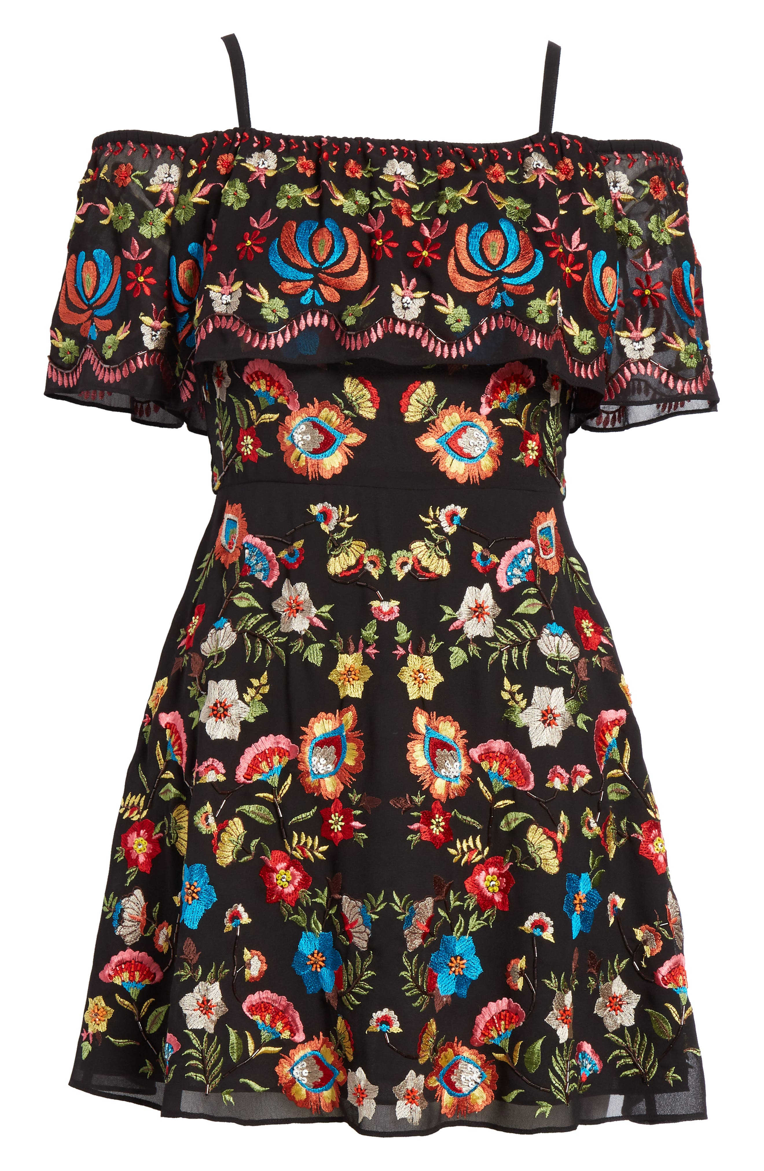 ALICE + OLIVIA,                             Francina Embroidered Off the Shoulder Minidress,                             Alternate thumbnail 6, color,                             019