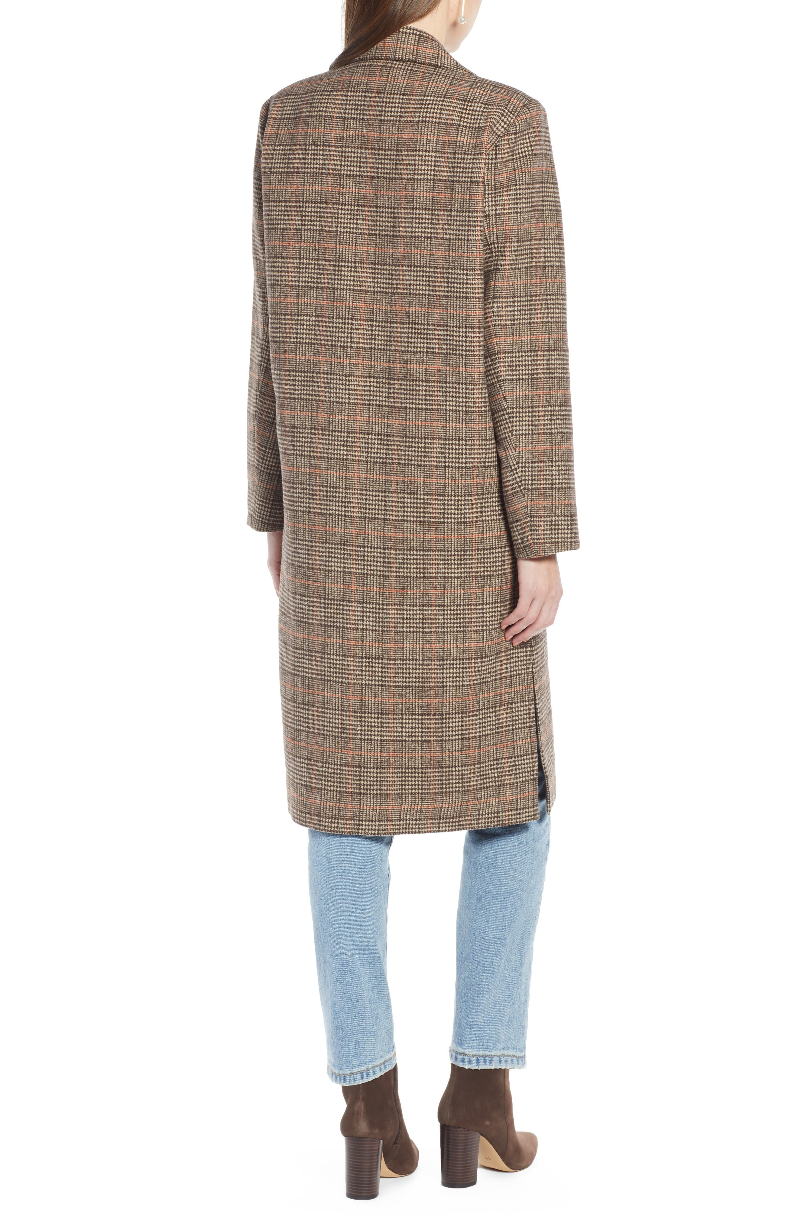 SOMETHING NAVY,                             Patch Pocket Plaid Coat,                             Alternate thumbnail 2, color,                             210