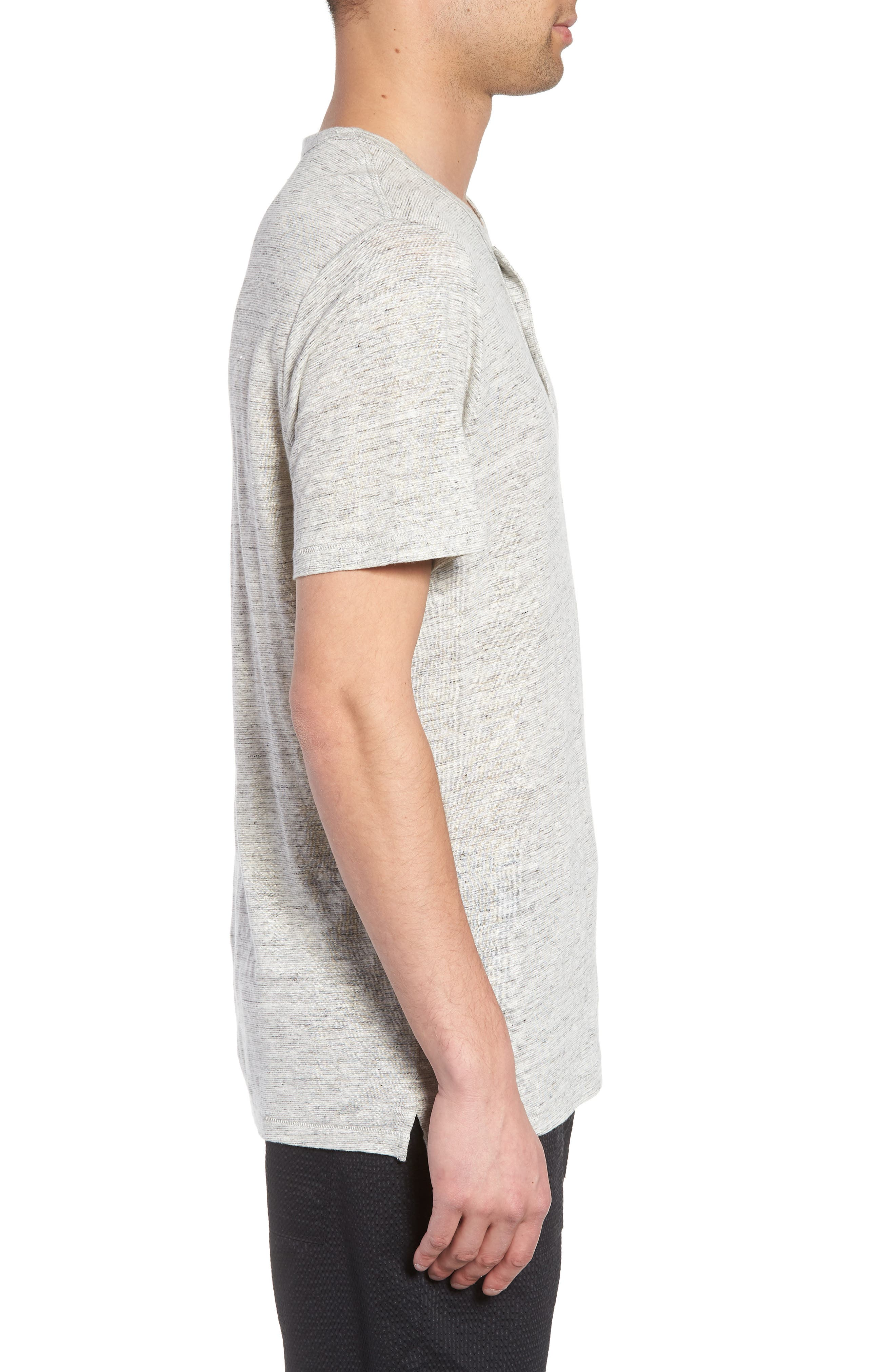 Short Sleeve Linen Henley,                             Alternate thumbnail 3, color,                             050