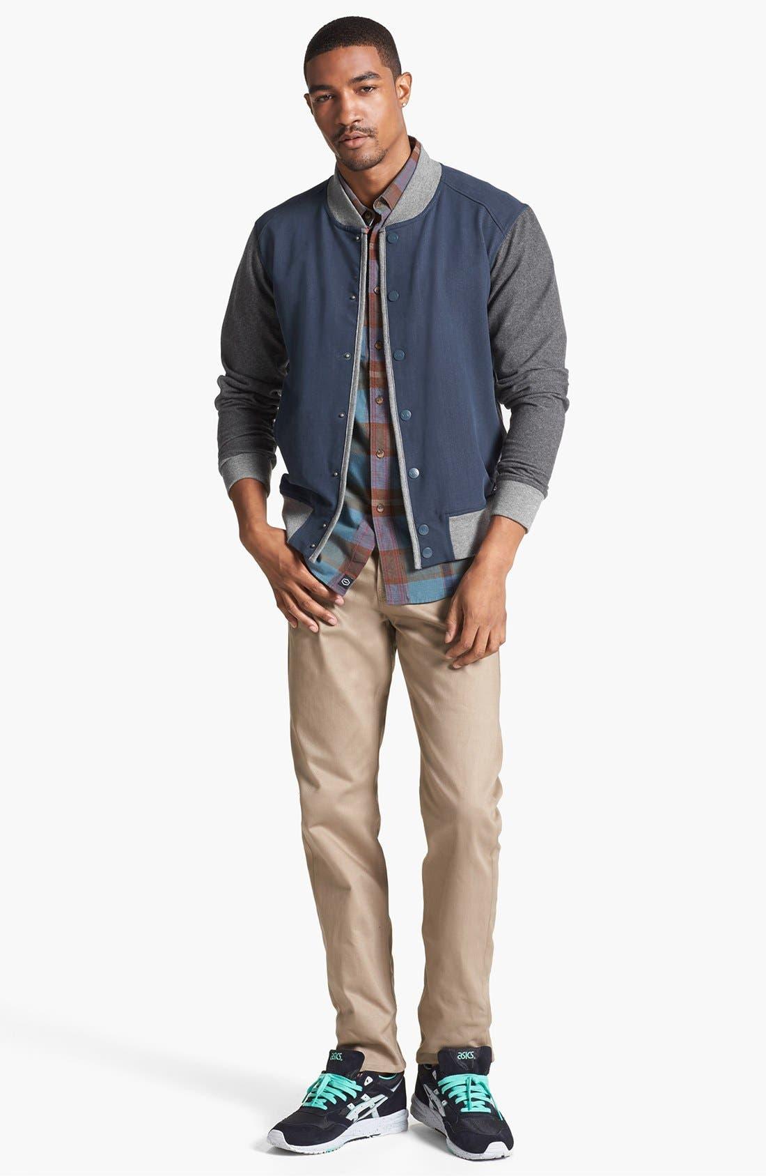 RVCA,                             'Hatcher' Varsity Jacket,                             Alternate thumbnail 4, color,                             405