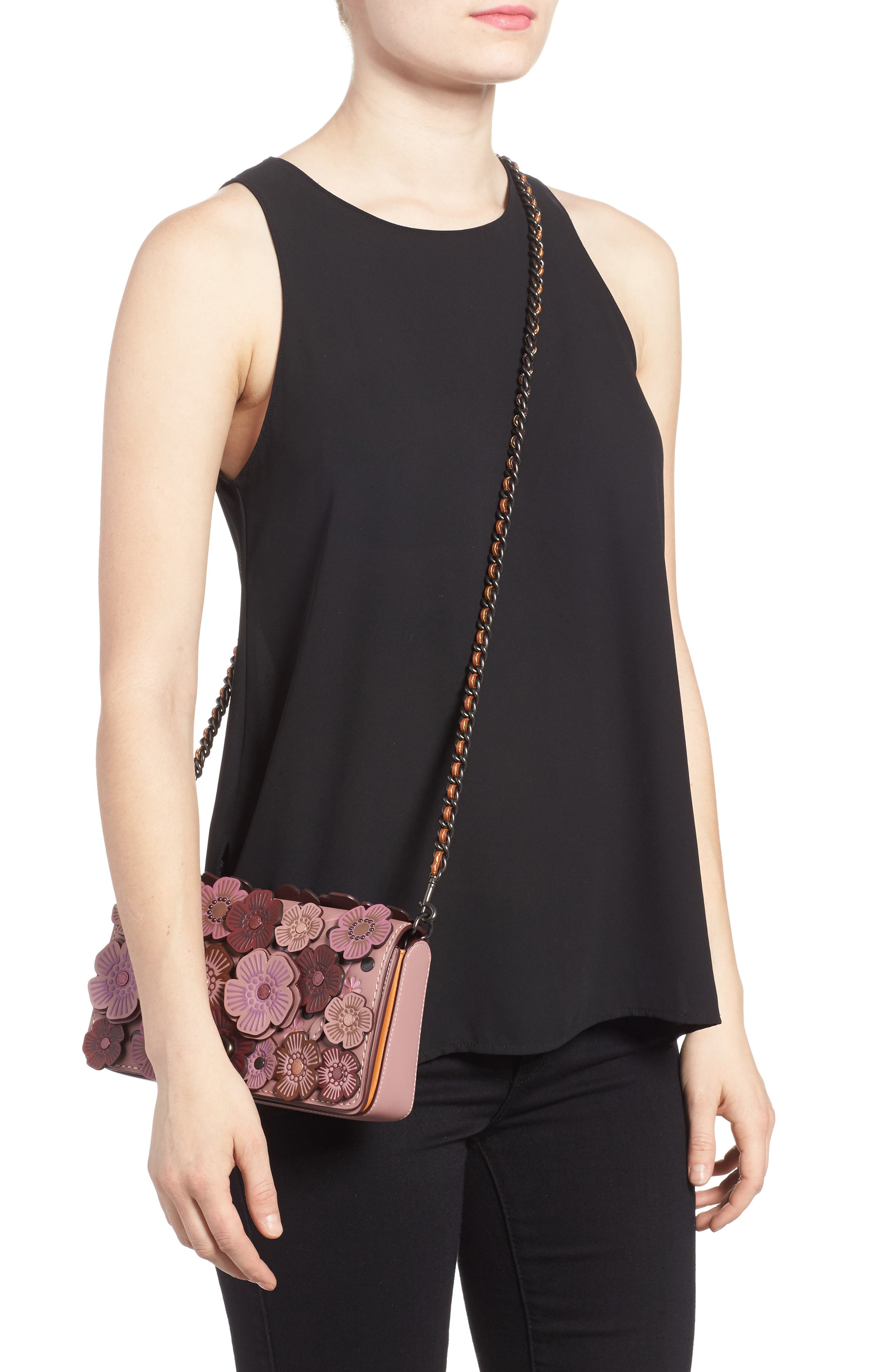 'Dinky' Flower Appliqué Leather Crossbody Bag,                             Alternate thumbnail 15, color,