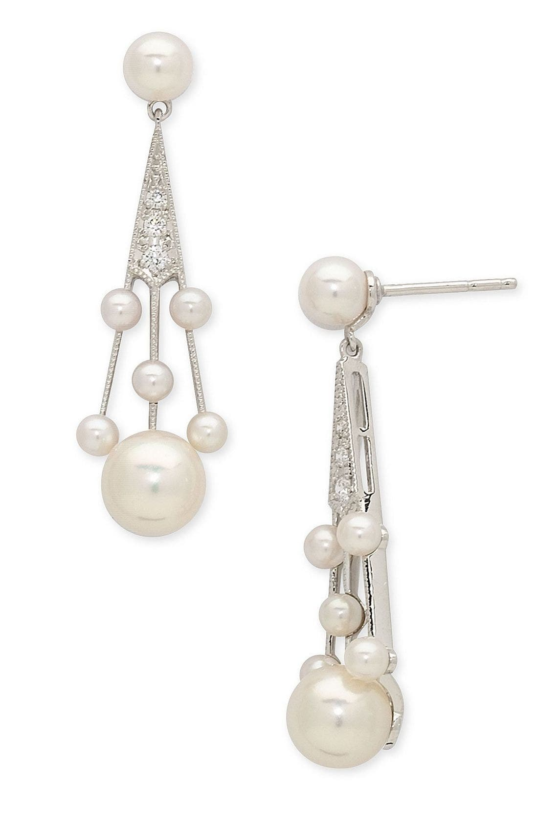 'Legacy Collection' Akoya Cultured Pearl & Diamond Earrings,                             Main thumbnail 1, color,                             PEARL/ DIAMOND