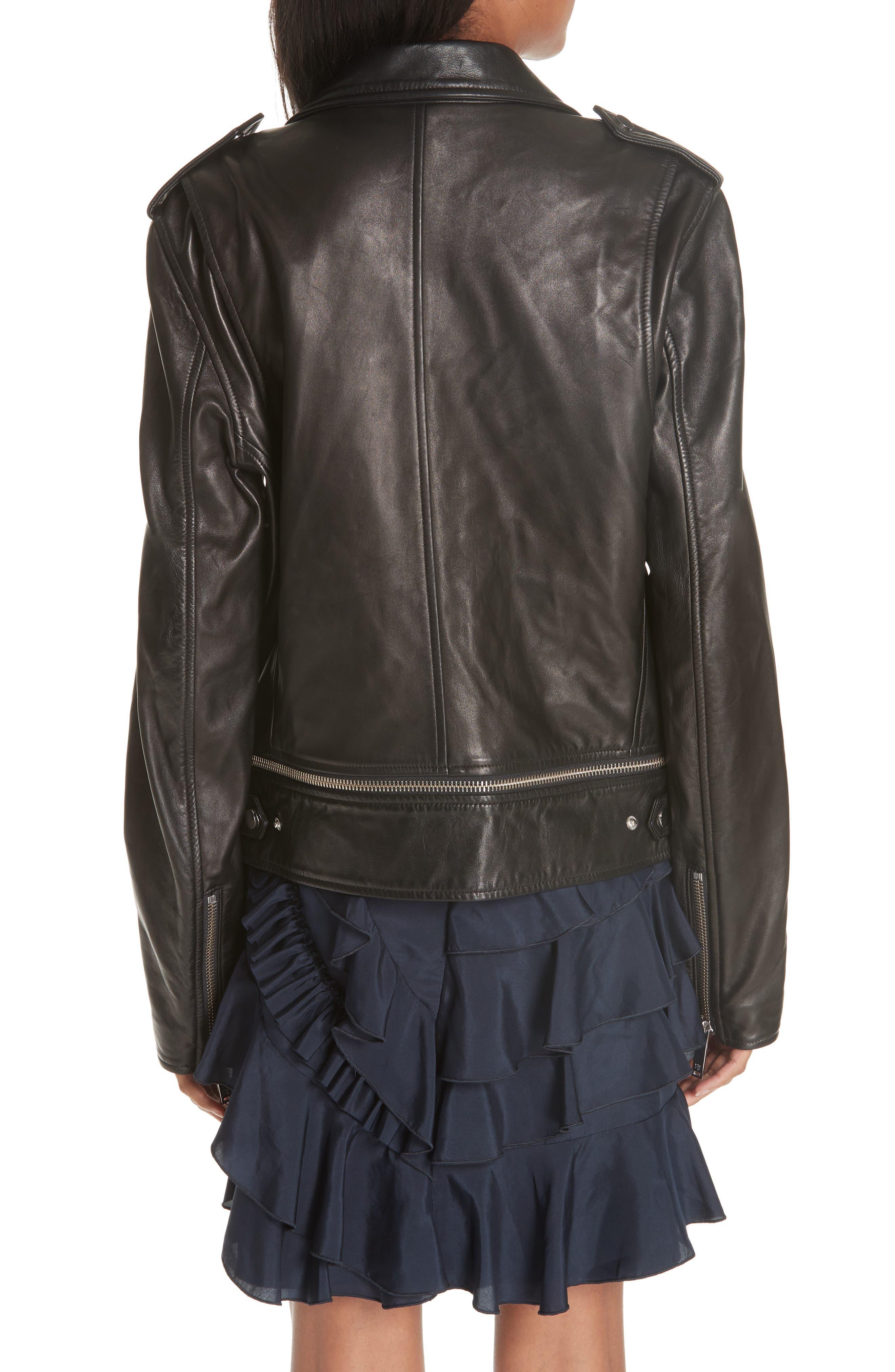 Lambskin Leather Jacket,                             Alternate thumbnail 3, color,                             BLACK