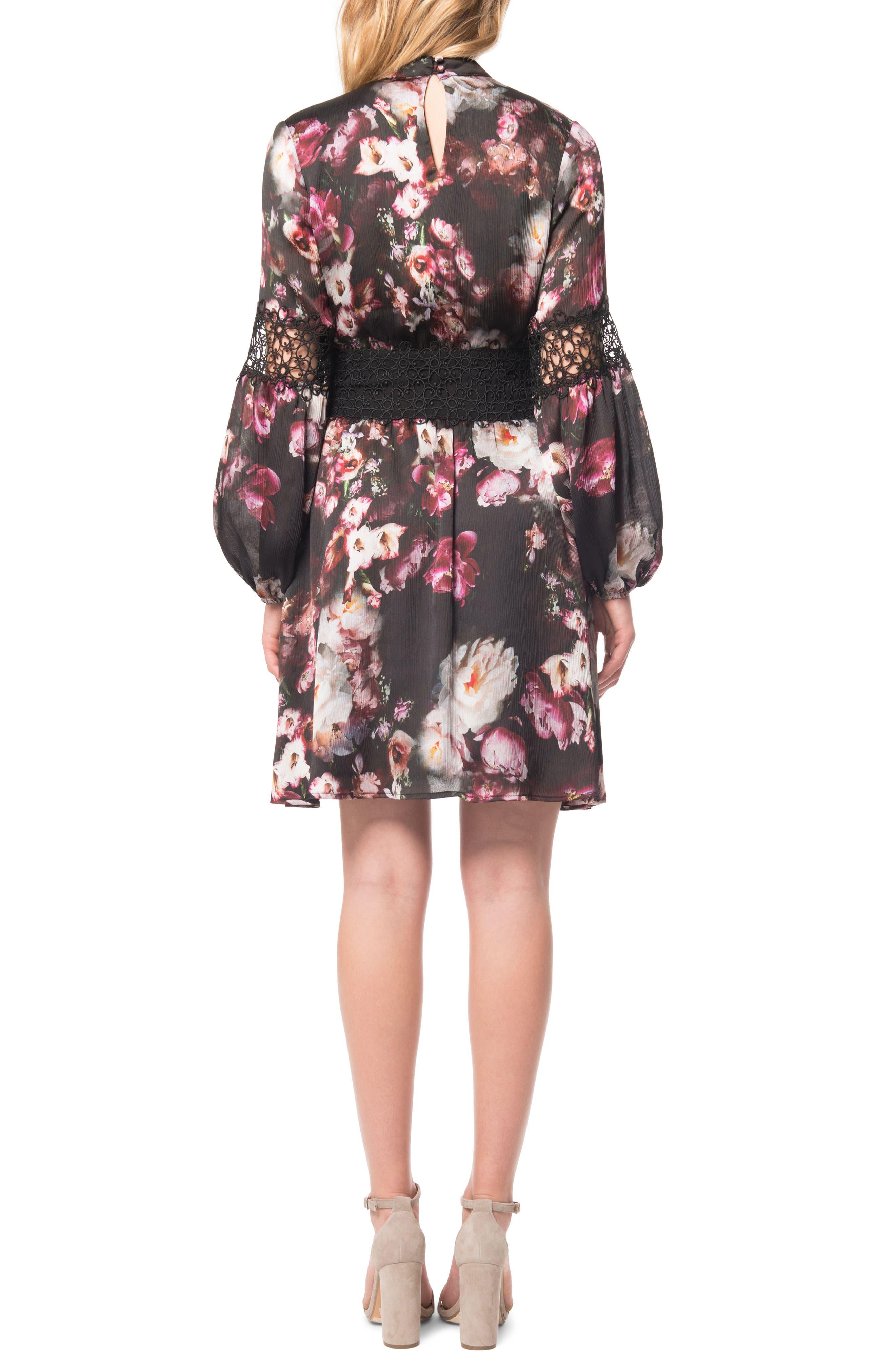 Floral Print Choker Dress,                             Alternate thumbnail 2, color,                             003