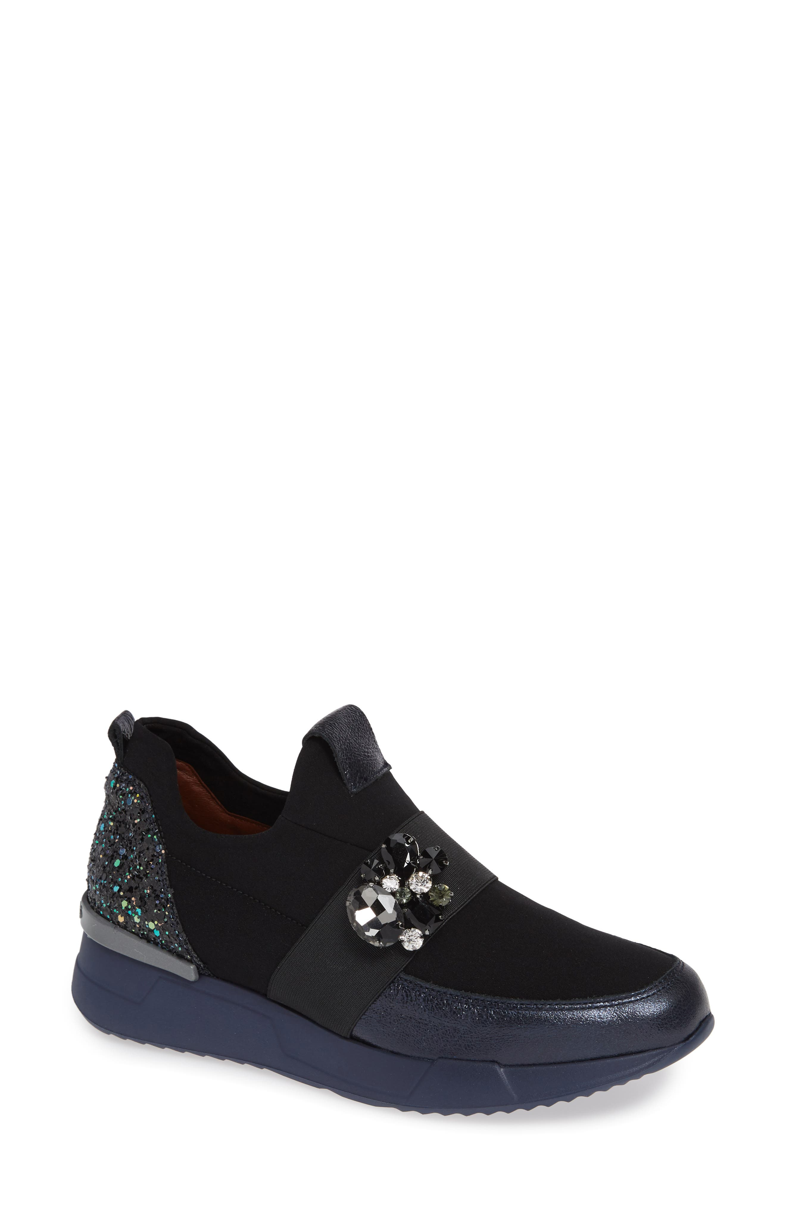 Callen Embellished Sock Sneaker,                             Main thumbnail 1, color,                             SHADOW MARINE LEATHER