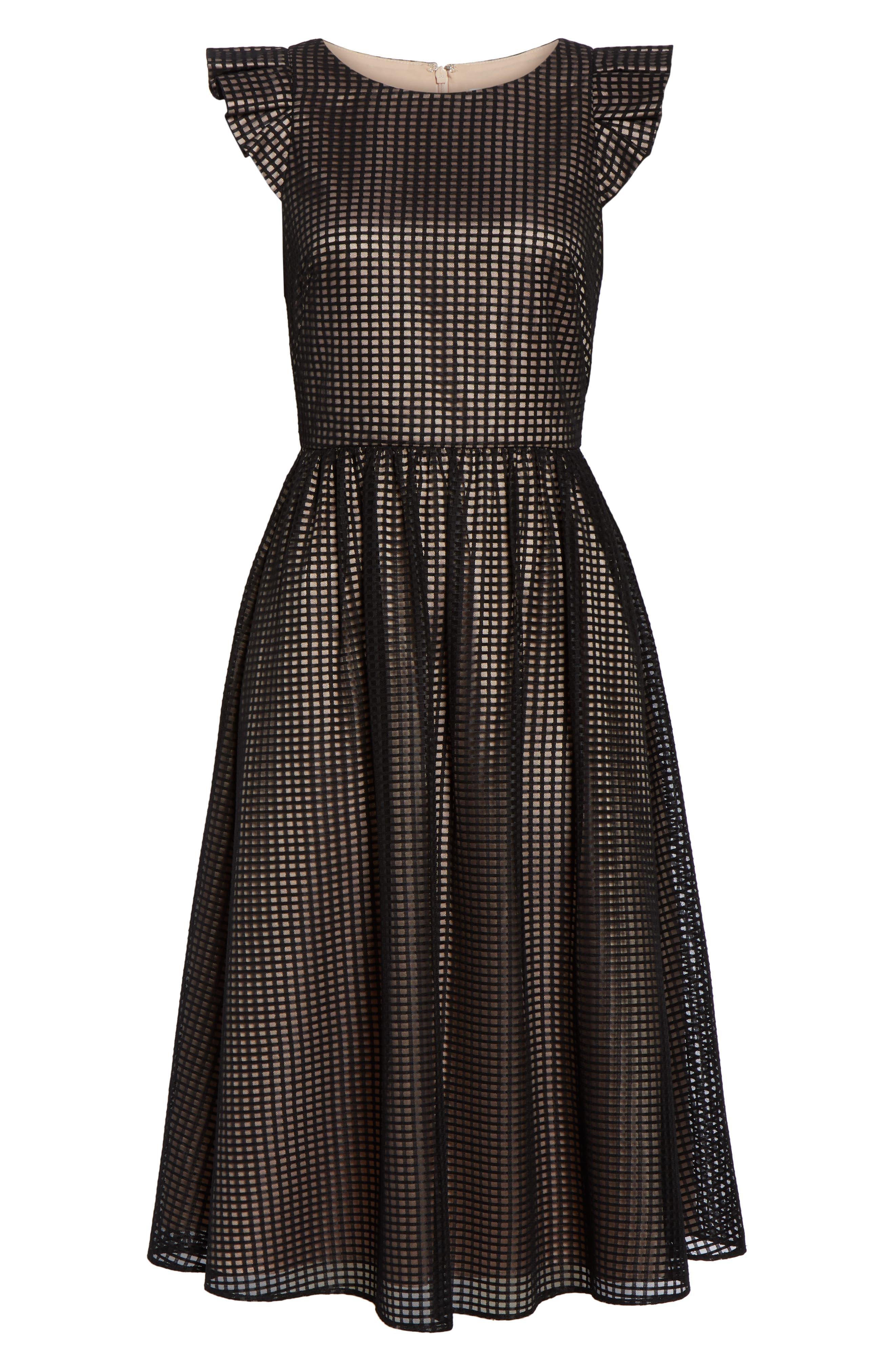 1901,                             Ruffle Grid Overlay Midi Dress,                             Alternate thumbnail 7, color,                             001