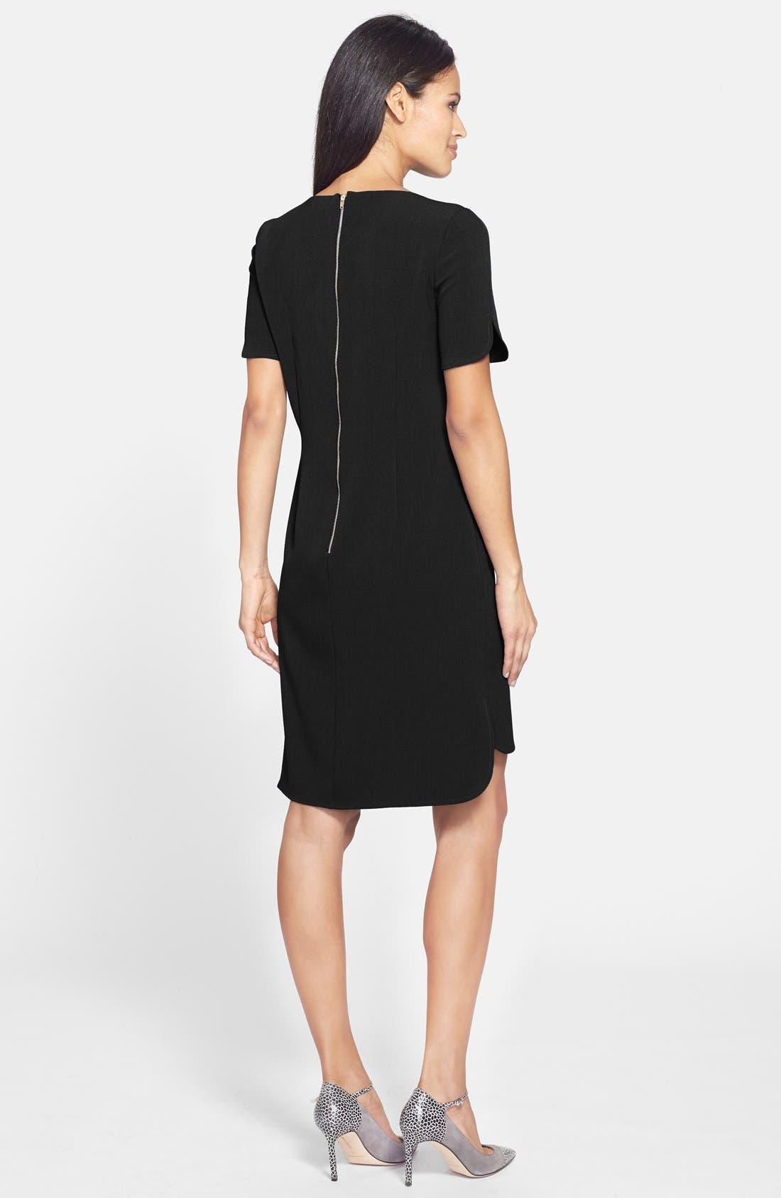 Split Front Shirttail Shift Dress,                             Alternate thumbnail 3, color,                             001