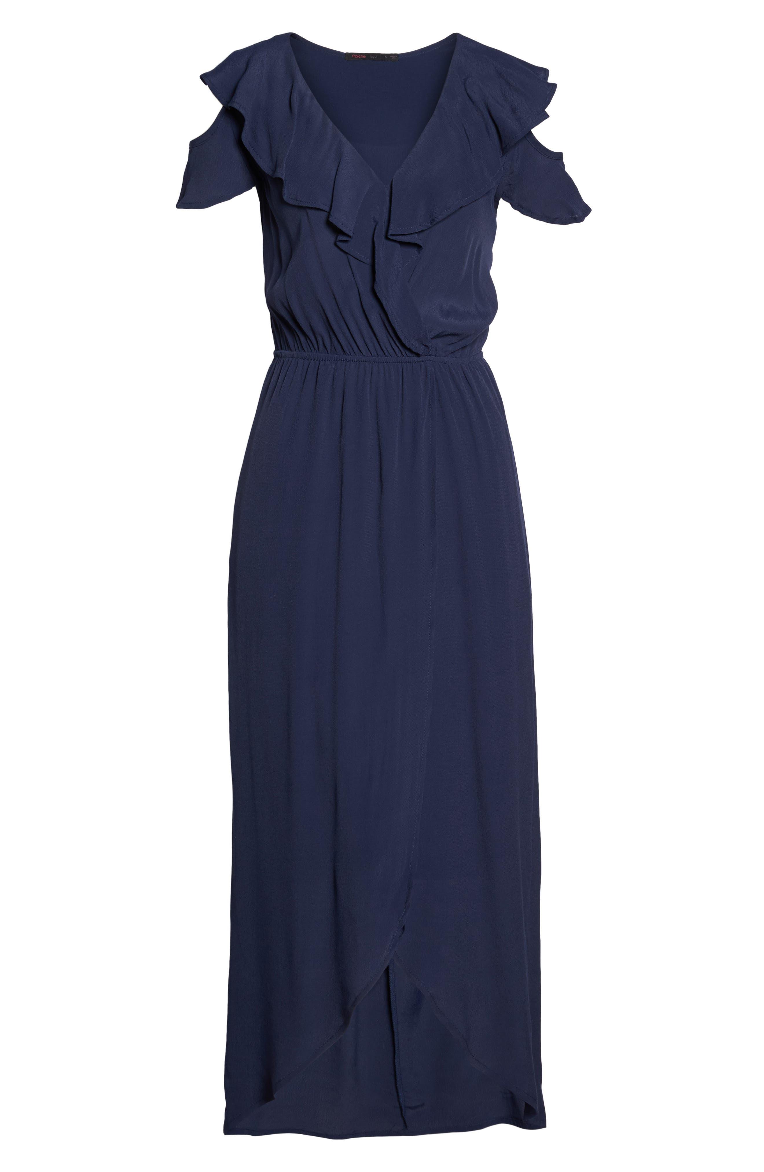 Cold Shoulder Maxi Dress,                             Alternate thumbnail 6, color,                             NAVY