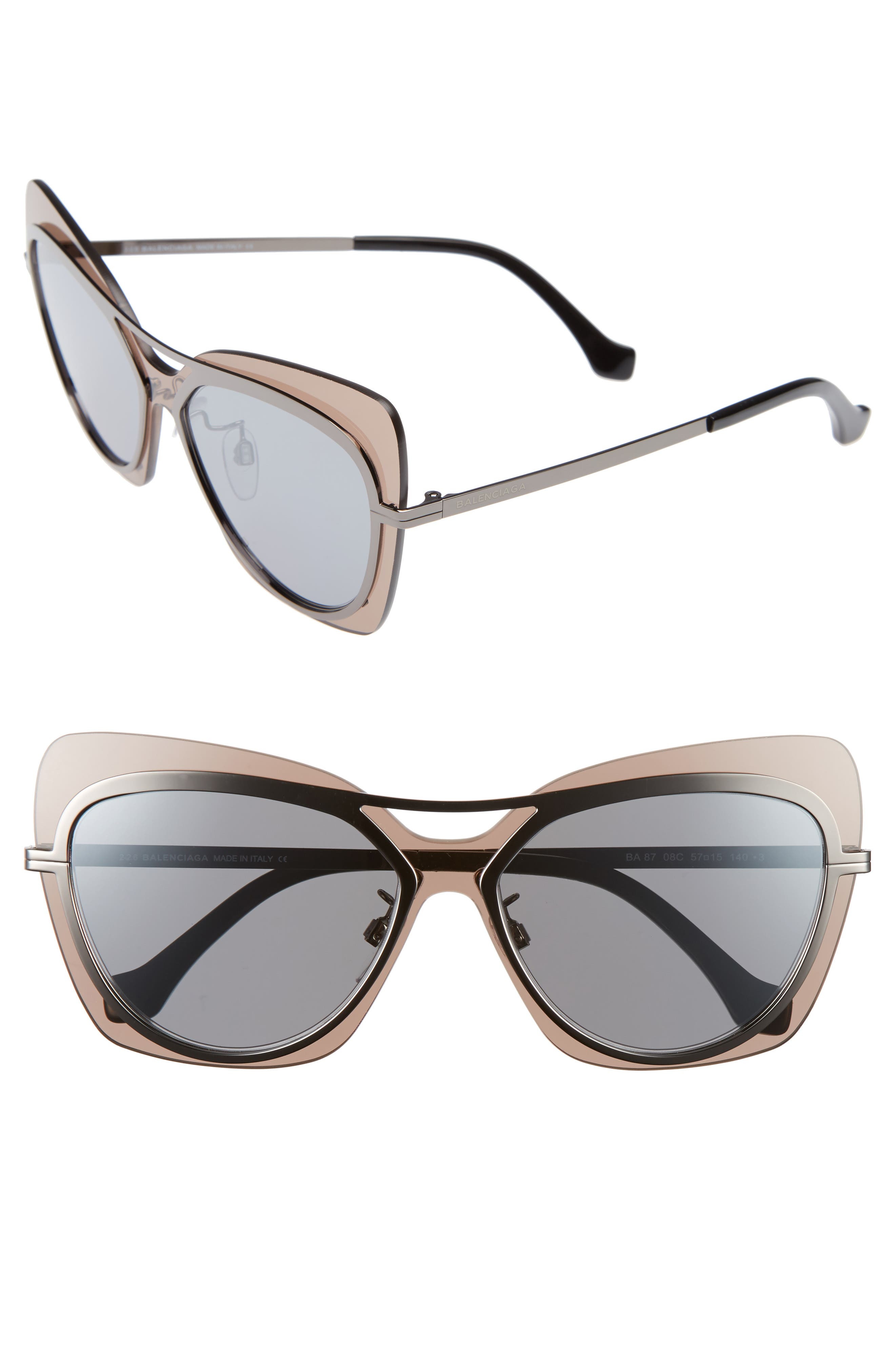 57mm Layered Butterfly Sunglasses,                             Main thumbnail 1, color,                             020