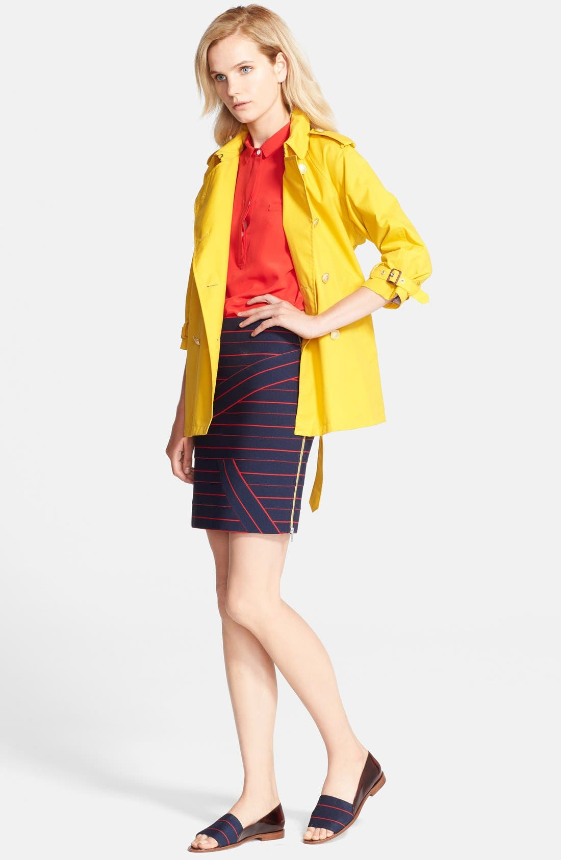 Belted A-Line Trench Coat,                             Alternate thumbnail 4, color,                             732